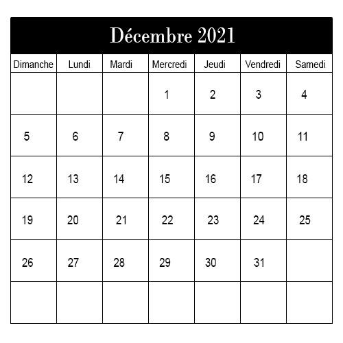 Calendrier Décembre 2021 à Imprimer: Calendrier Décembre Vacances