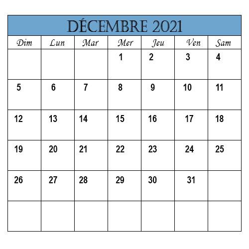 Calendrier Décembre 2021 Jours Fériés