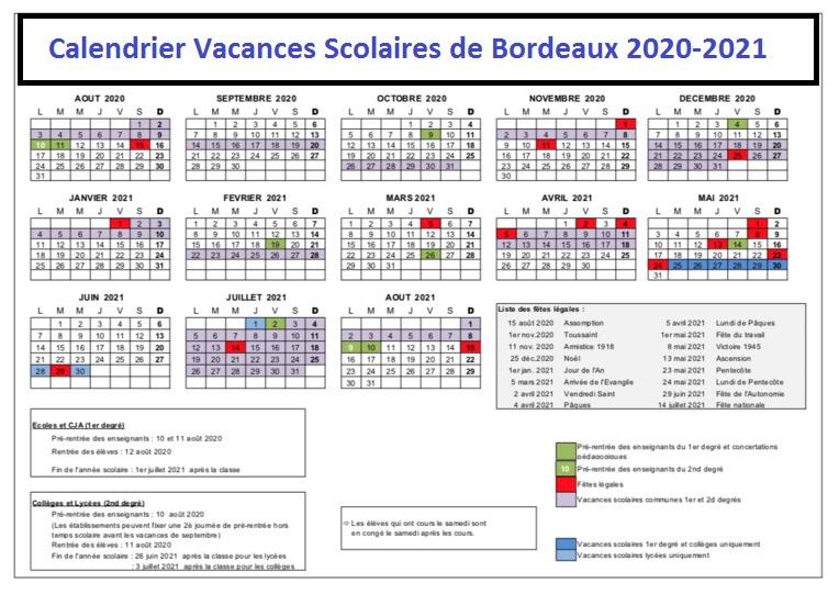 Bordeaux Calendrier scolaire 2020-2021 à Imprimer