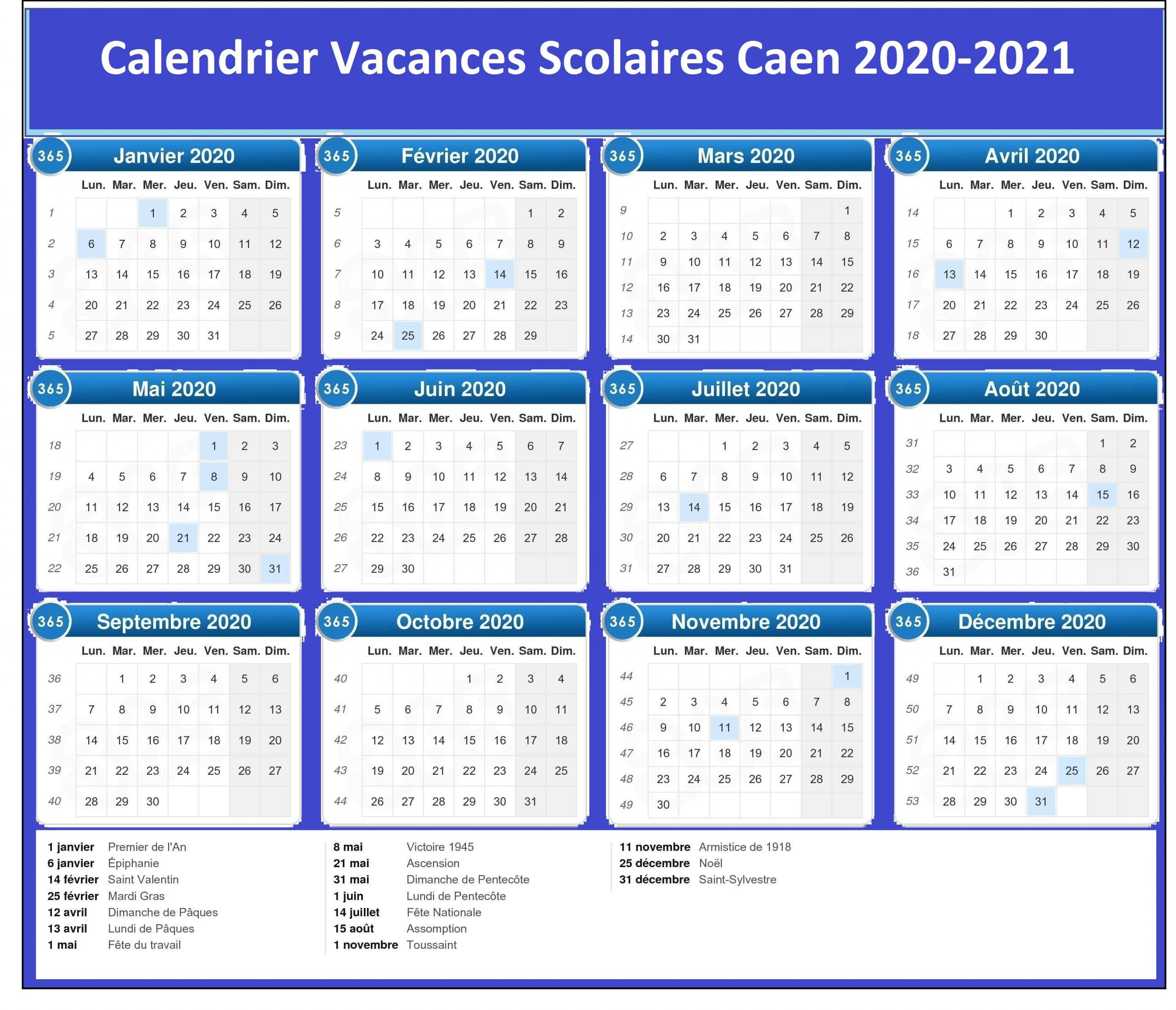 Calendrier Vacances Scolaires 2020 Academie De Caen