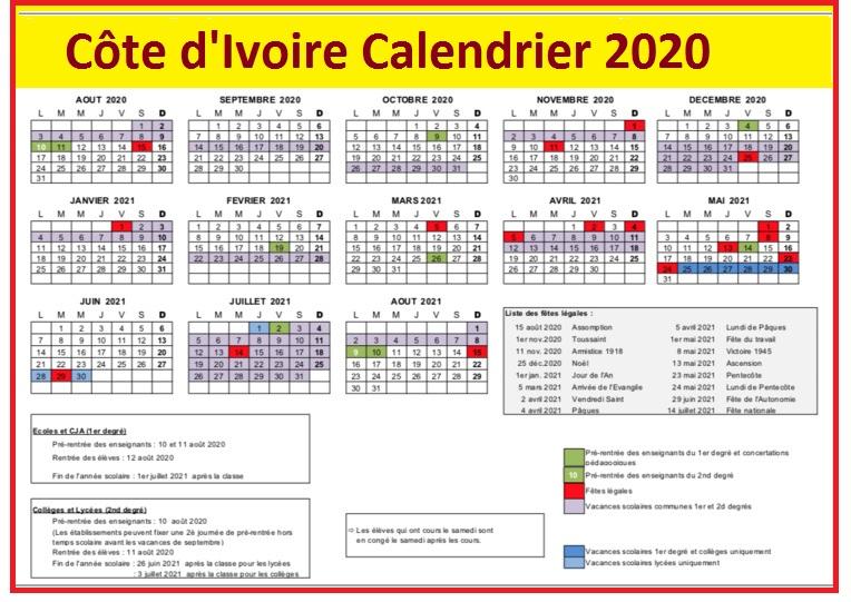 Calendrier Des Jours Feries En Côte d'Ivoire 2020