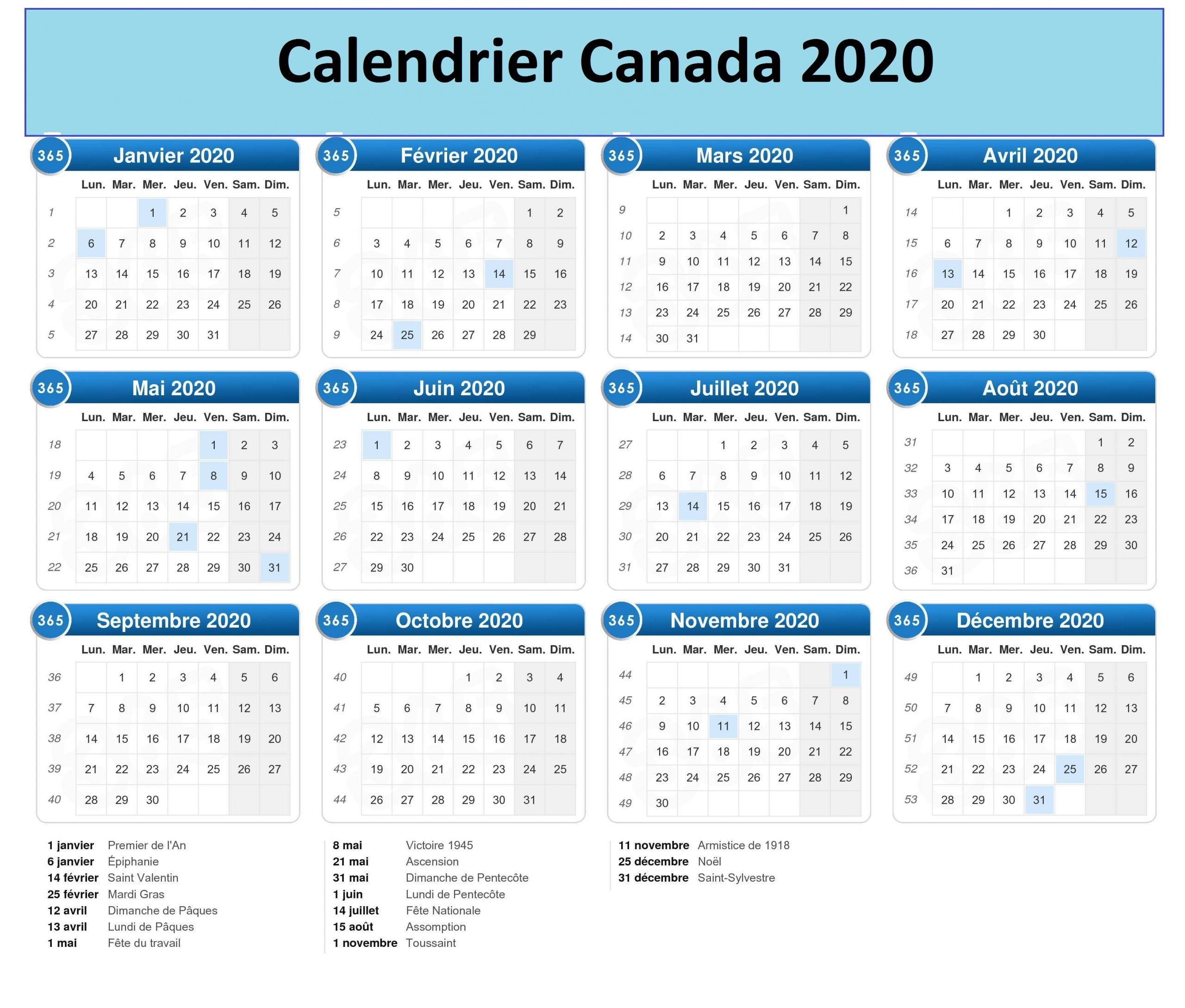 Calendrier 2020 Canada Quebec