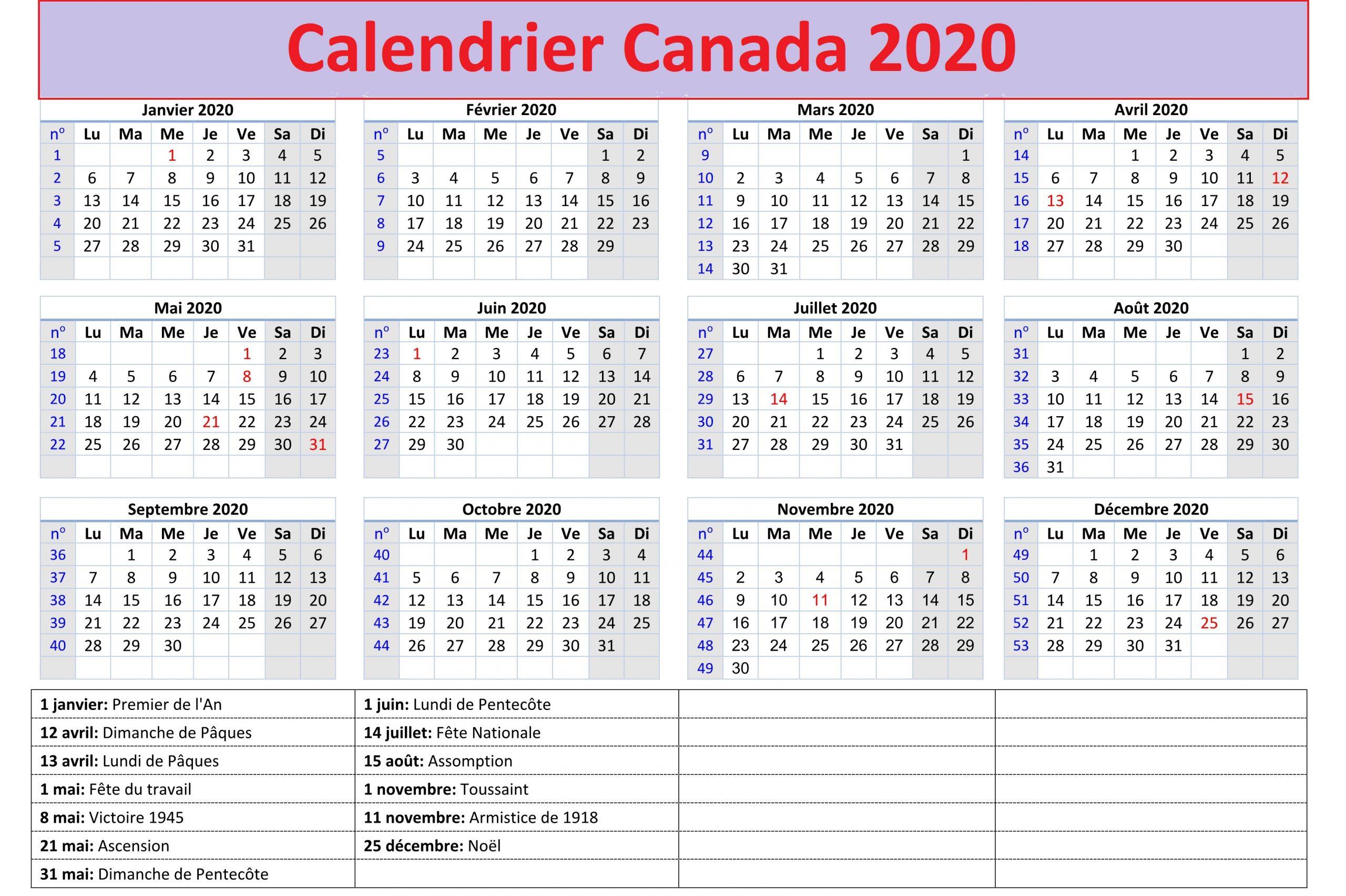 Calendrier 2020 Canada Avec Jours Feries