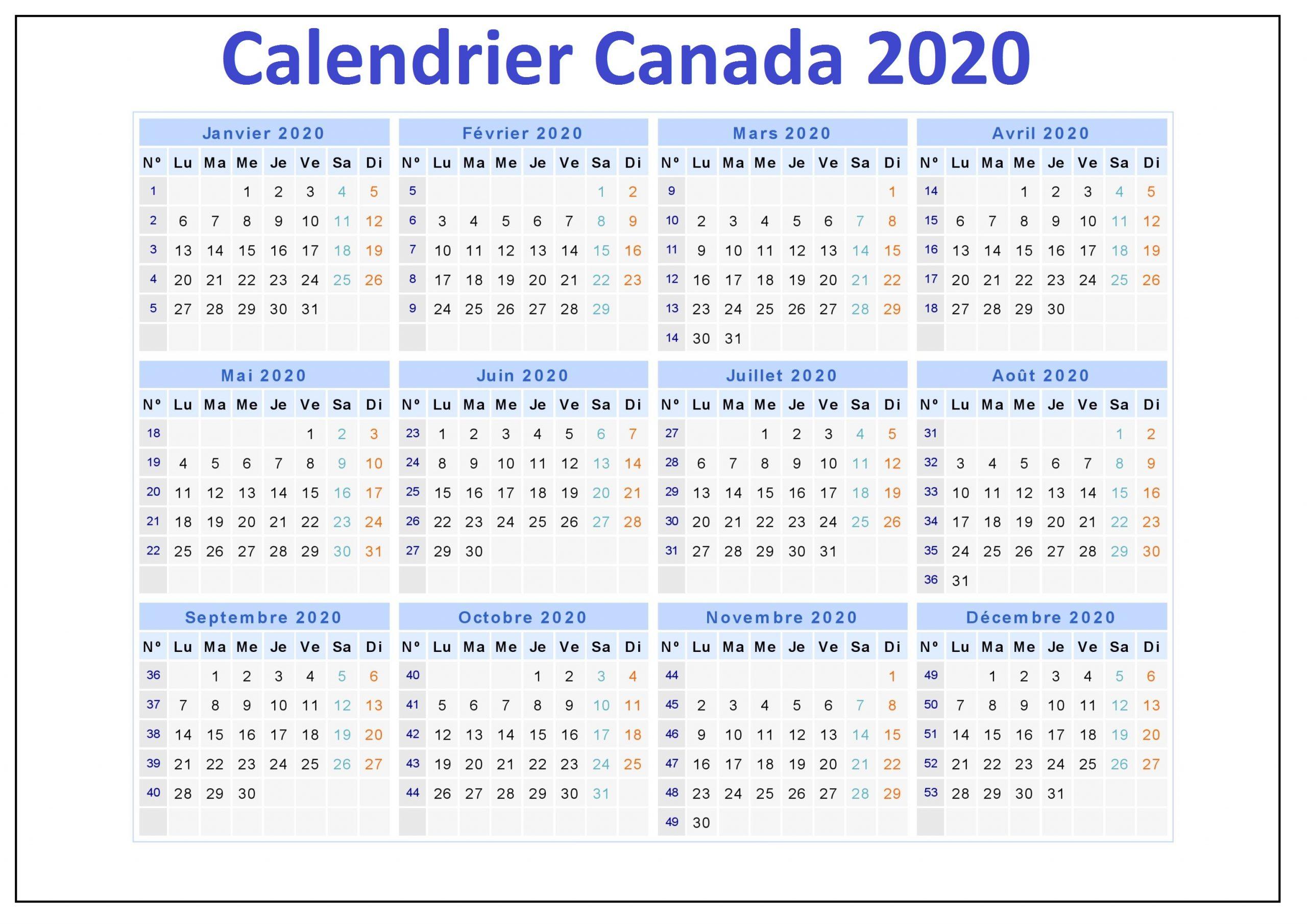 Calendrier 2020 Canada a Imprimer