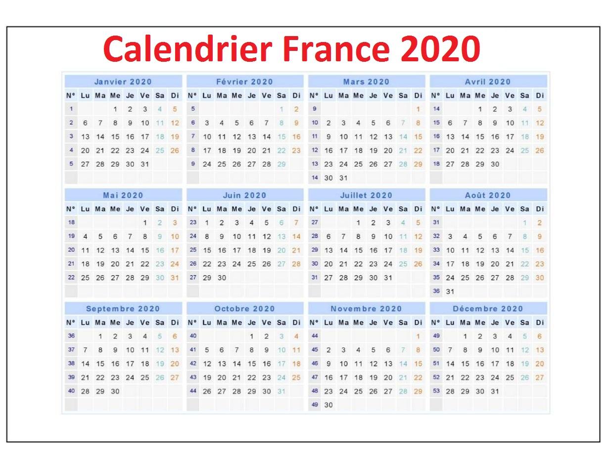 CalendrierdesvacancesScolairesen France 2020