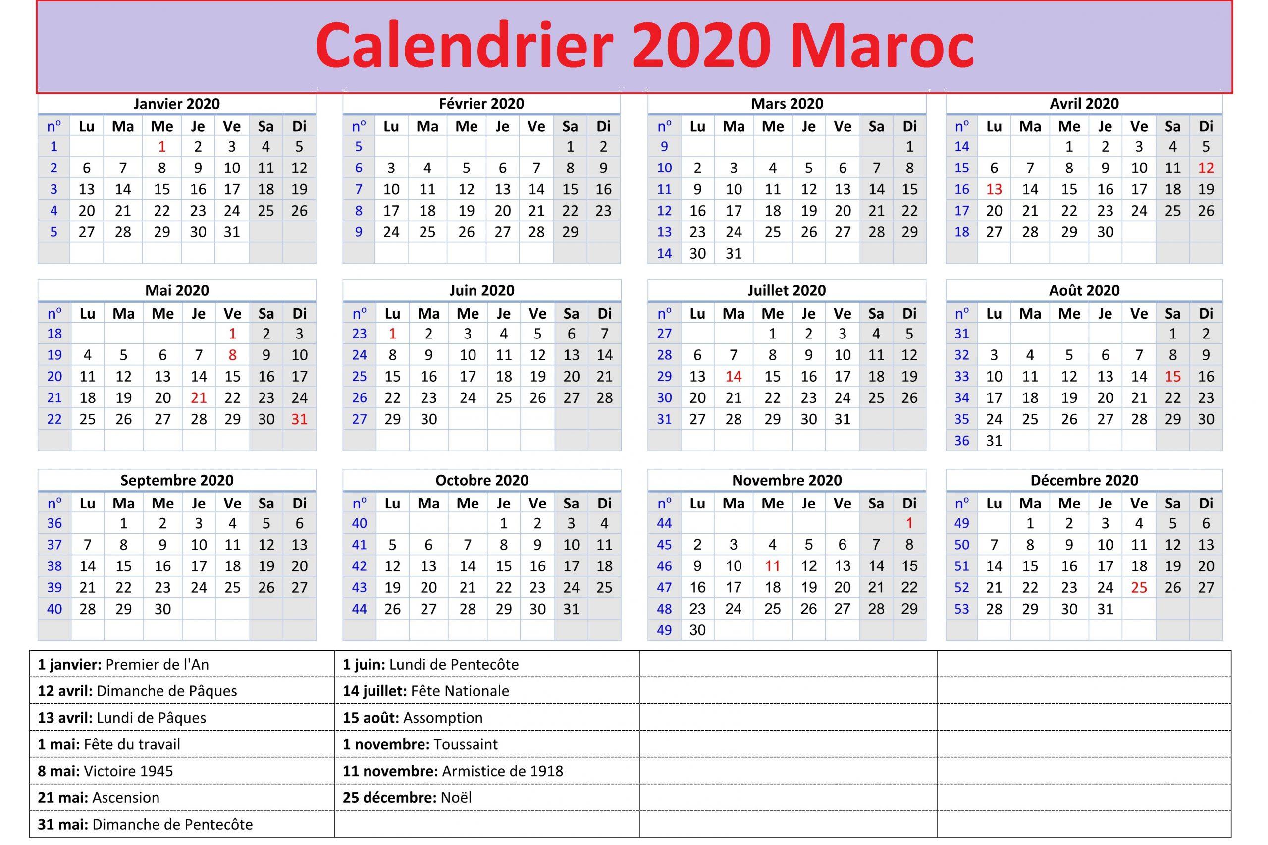 Calendrier 2020 Maroc Arabe
