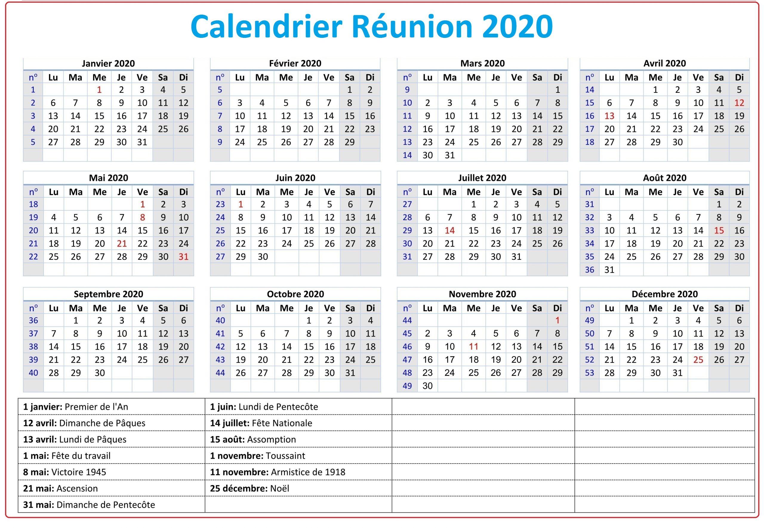 Calendrier Ile De La Réunion 2020