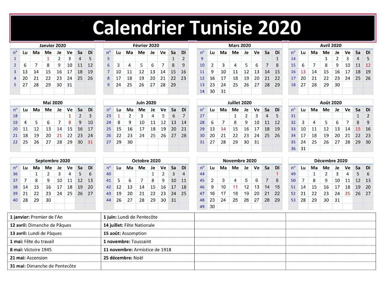Calendrier 2020 Tunisie Pdf