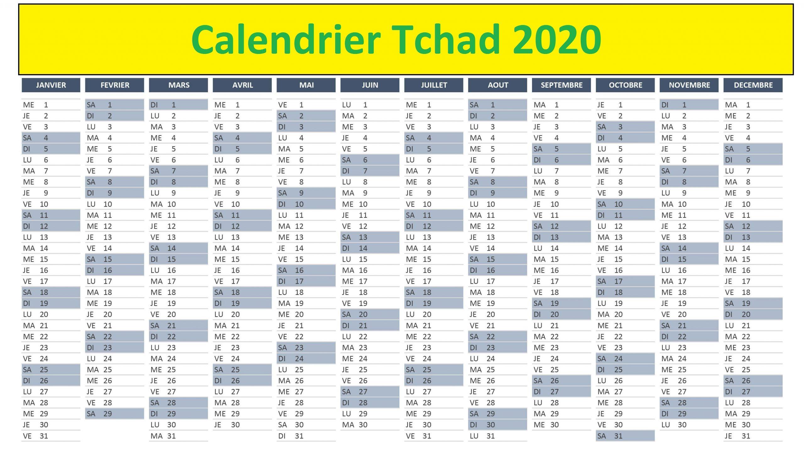 Calendrier Ramadan Tchad 2020