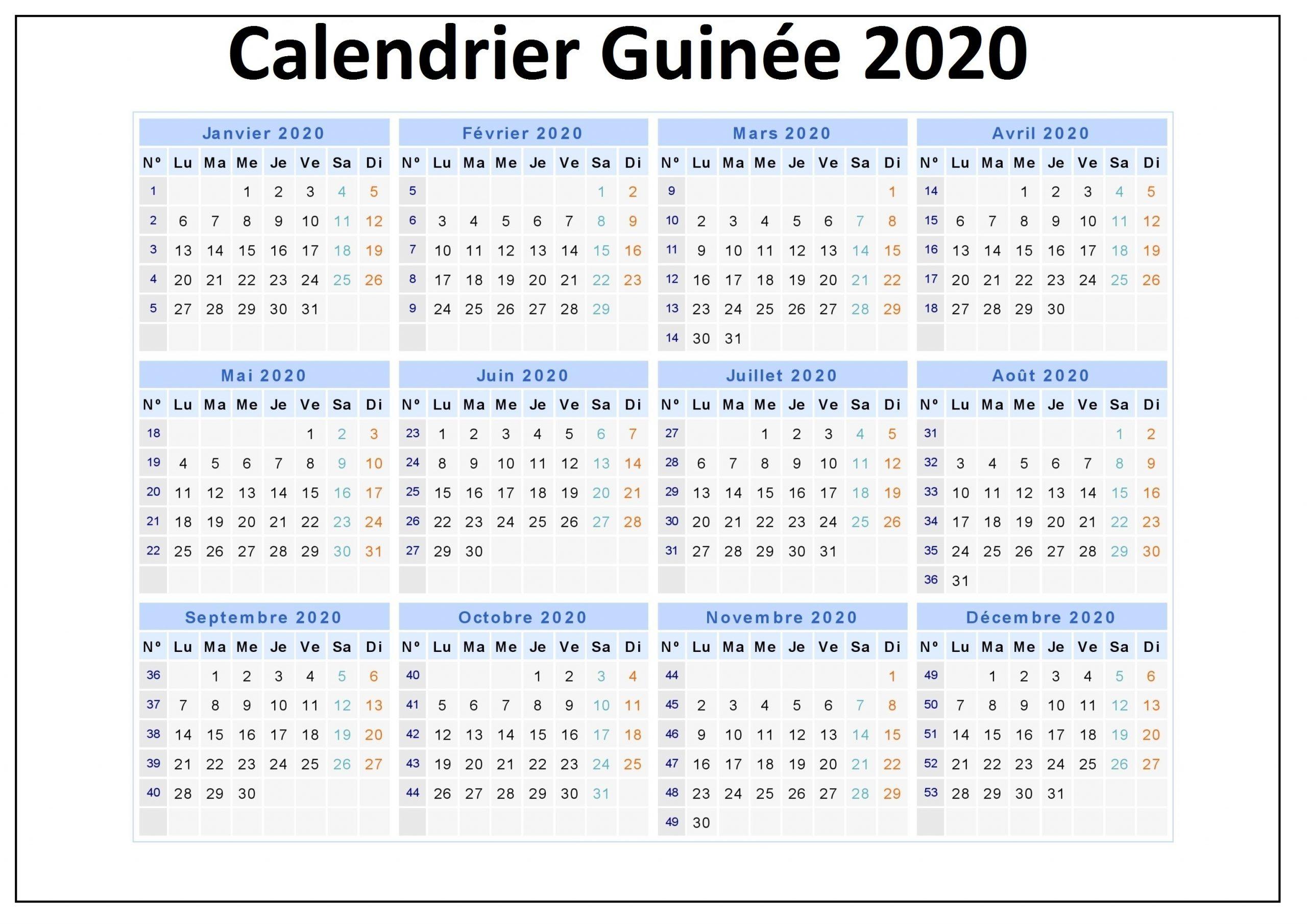 Calendrier Scolaire Guinée 2020