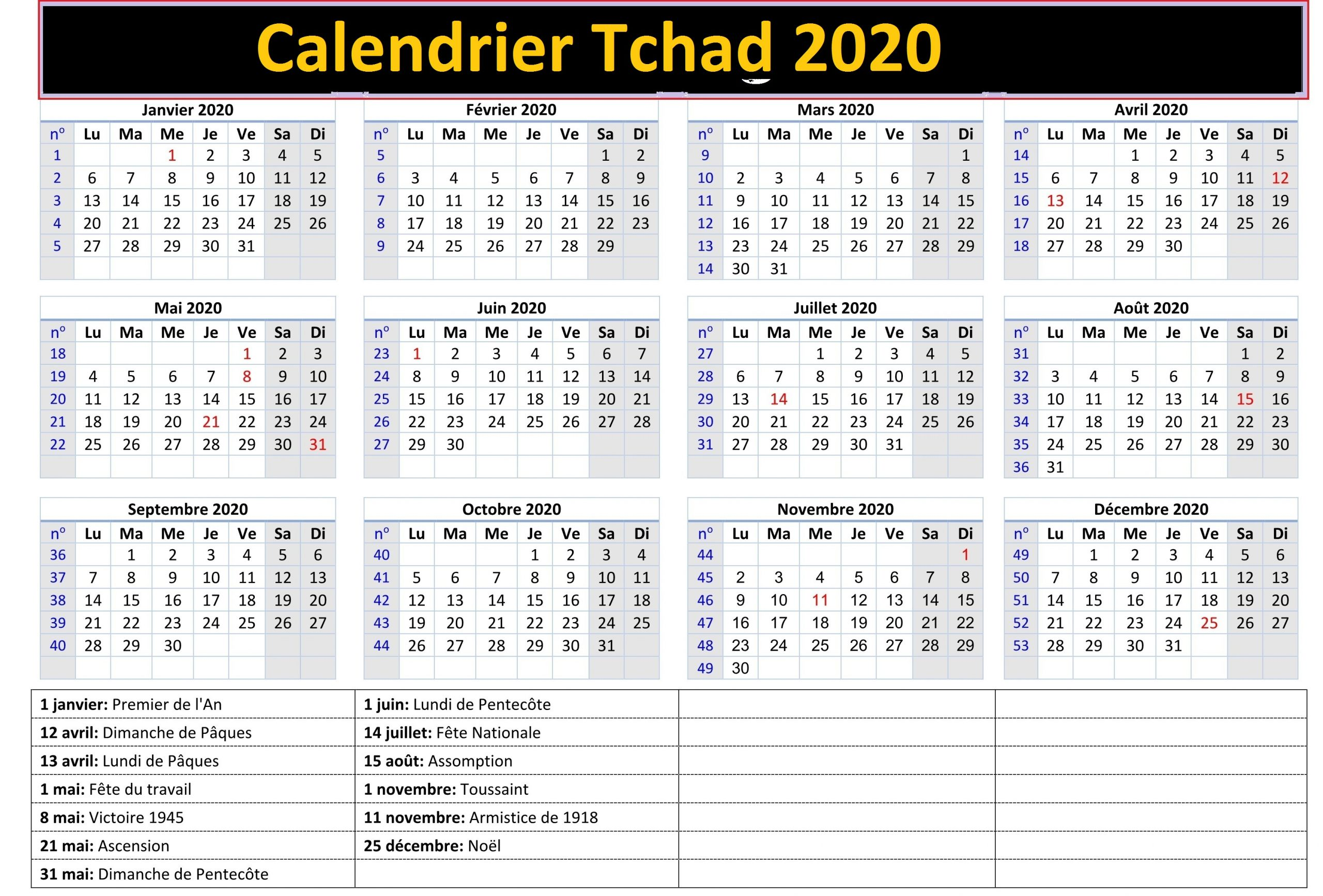 Calendrier Agricole Tchad 2020