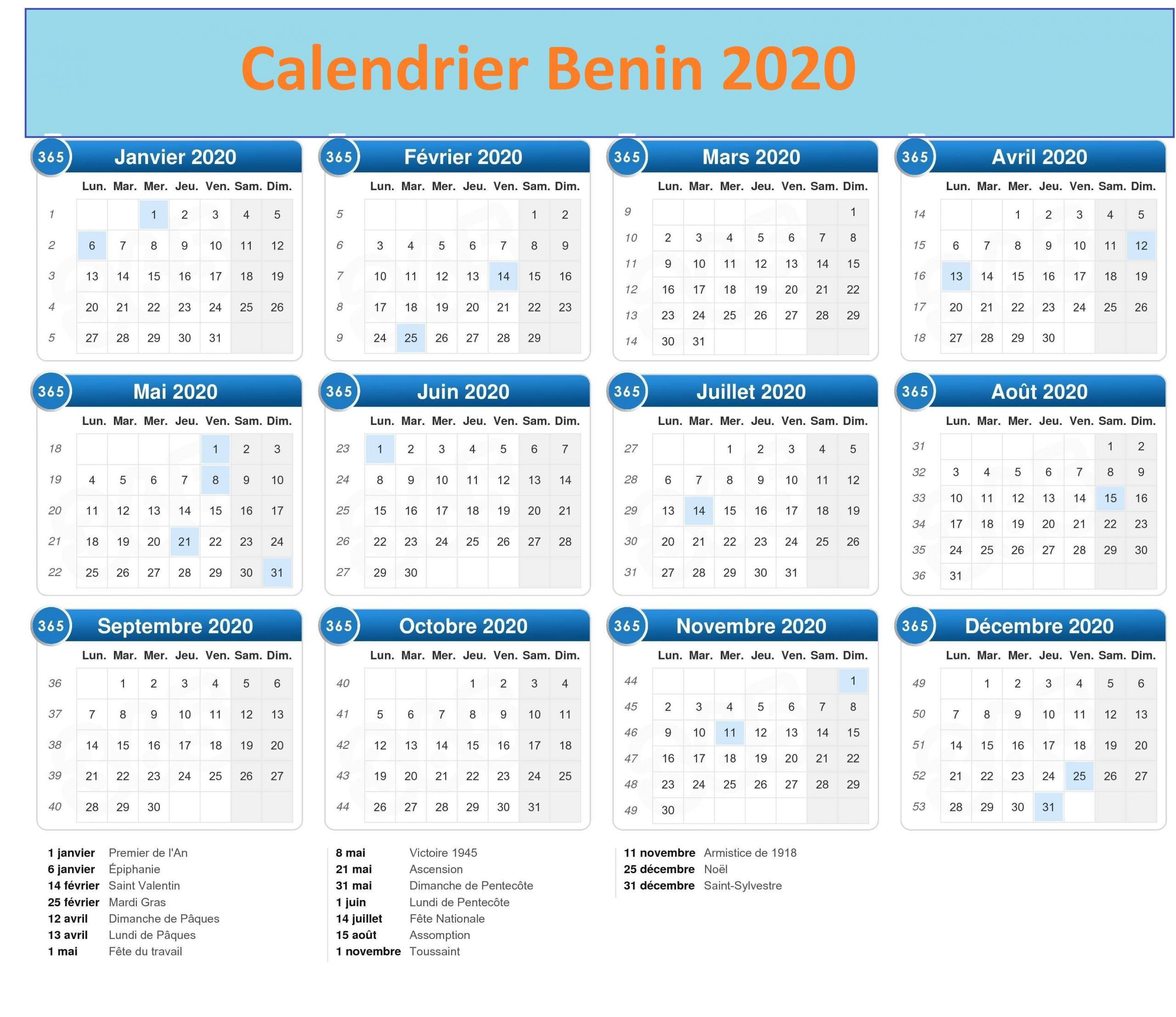 Calendrier Scolaire Bénin 2020