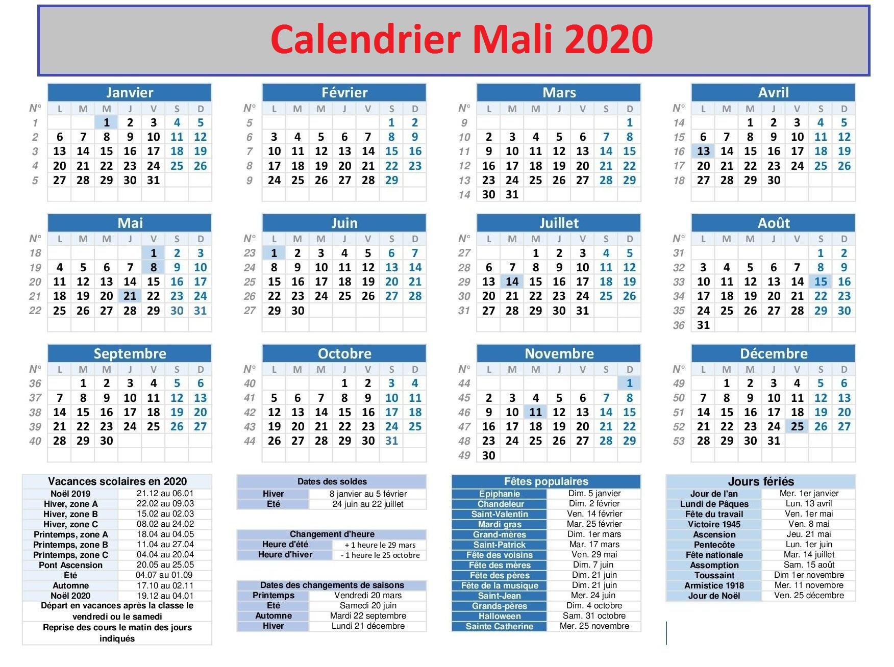 Calendrier Scolaire 2020 Mali