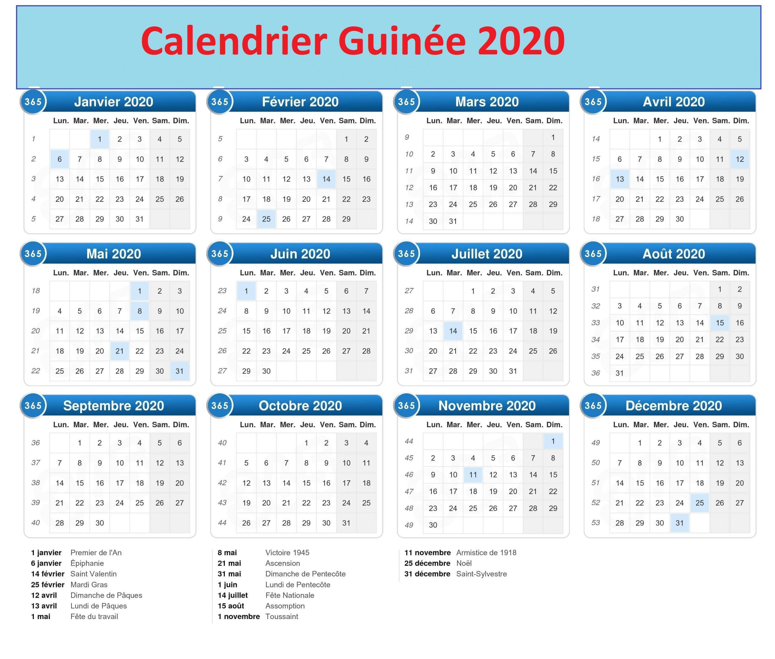 Calendrier Bac Guinée 2020