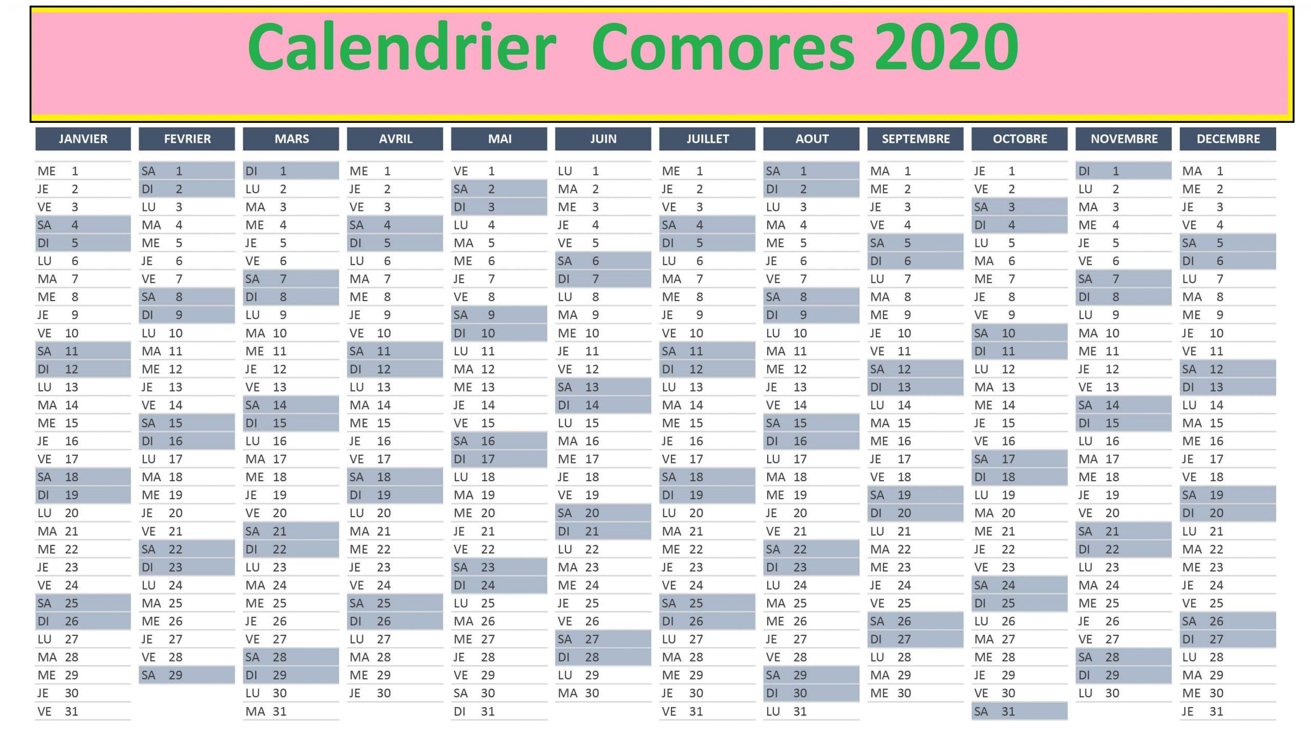 Calendrier Comores 2020