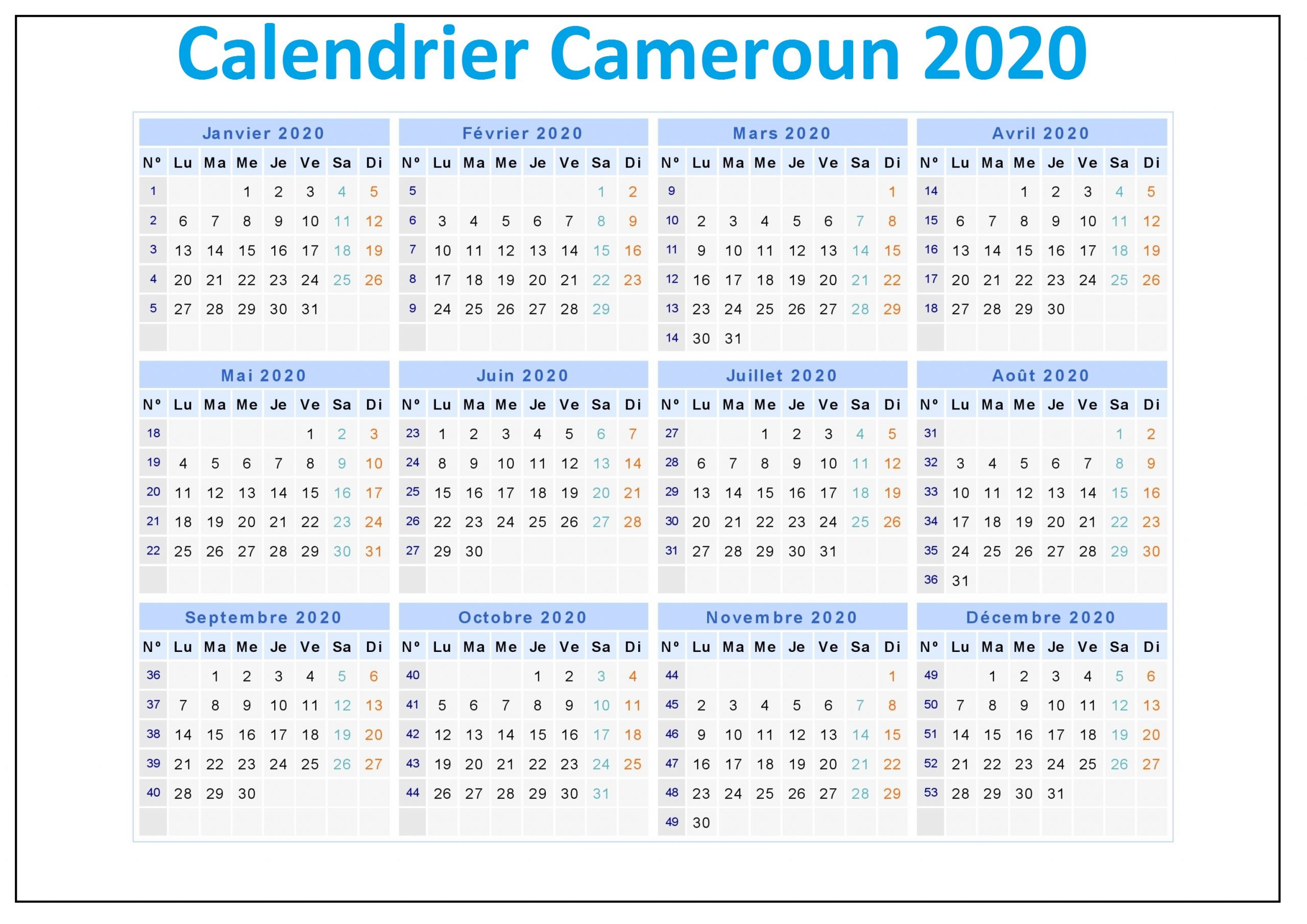 Calendrier Scolaire Cameroun 2020