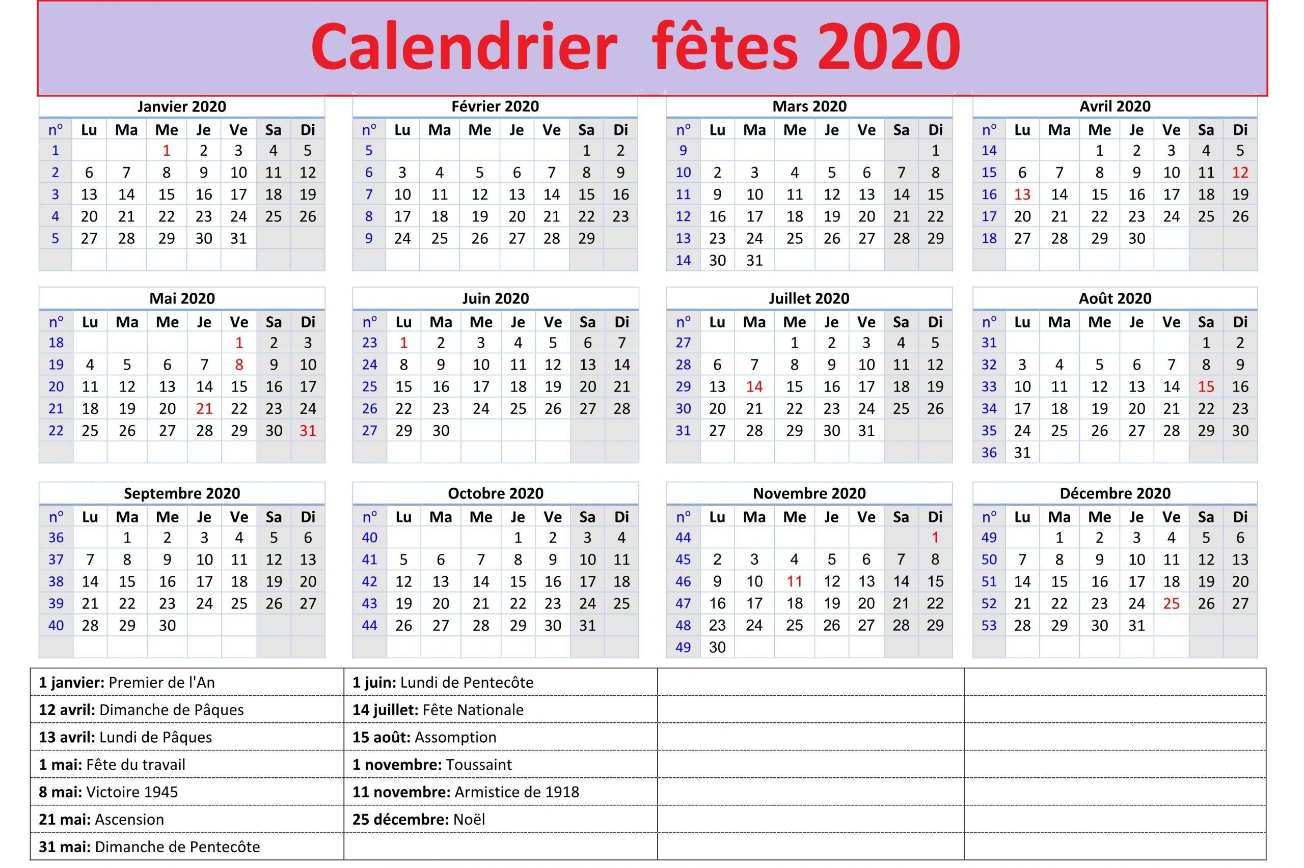 Calendrier Des Fetes 2020 Prenom