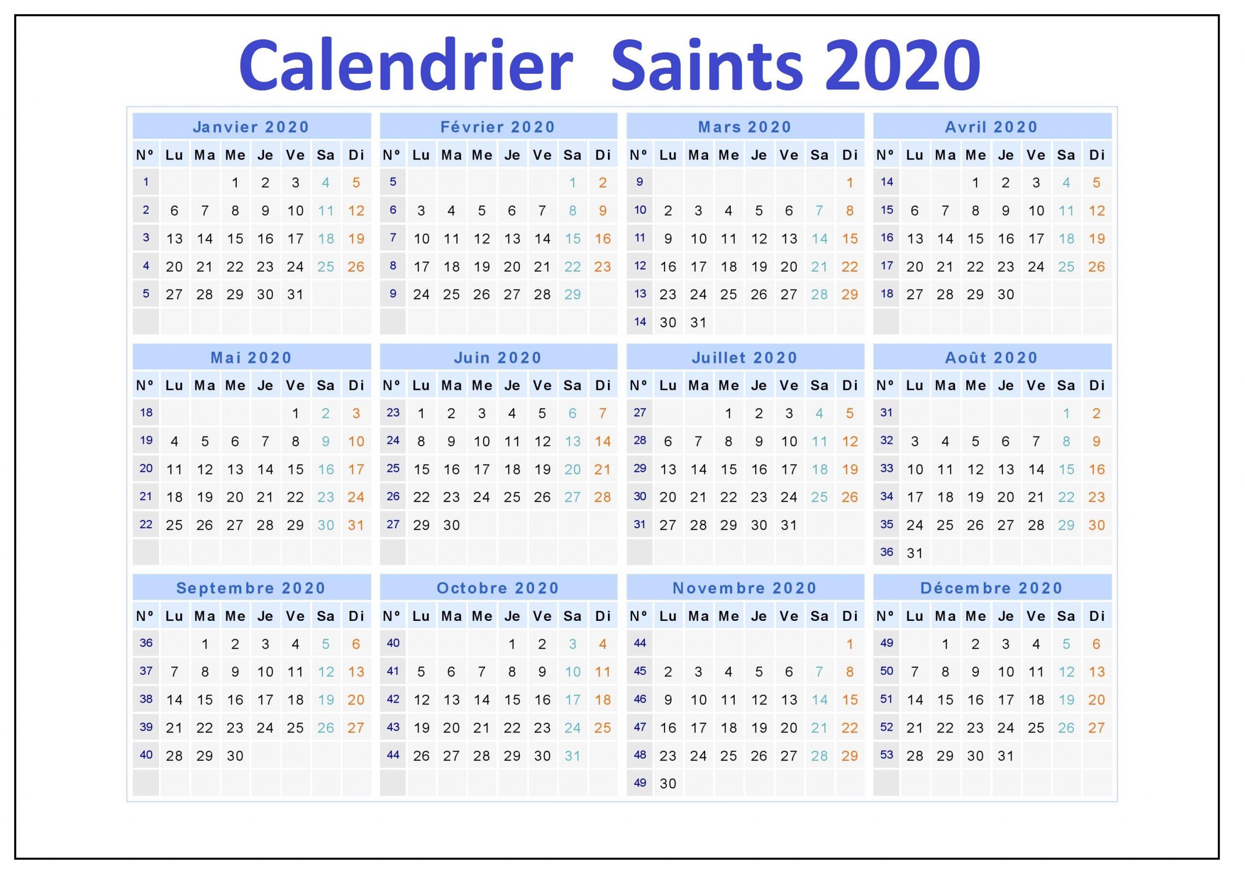 Calendrier Des Saints 2020 Belgique