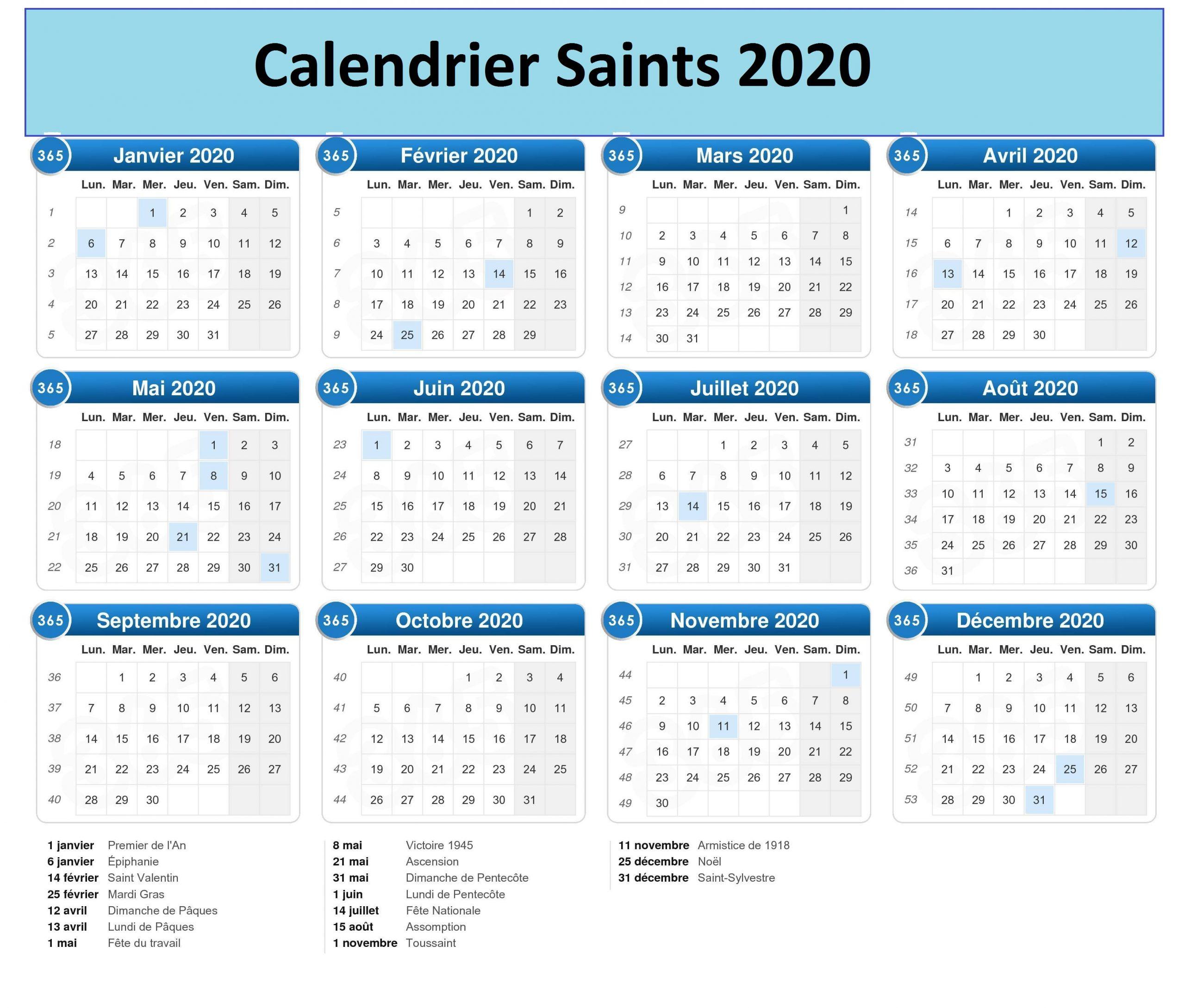 Calendrier Des Saints Catholiques 2020