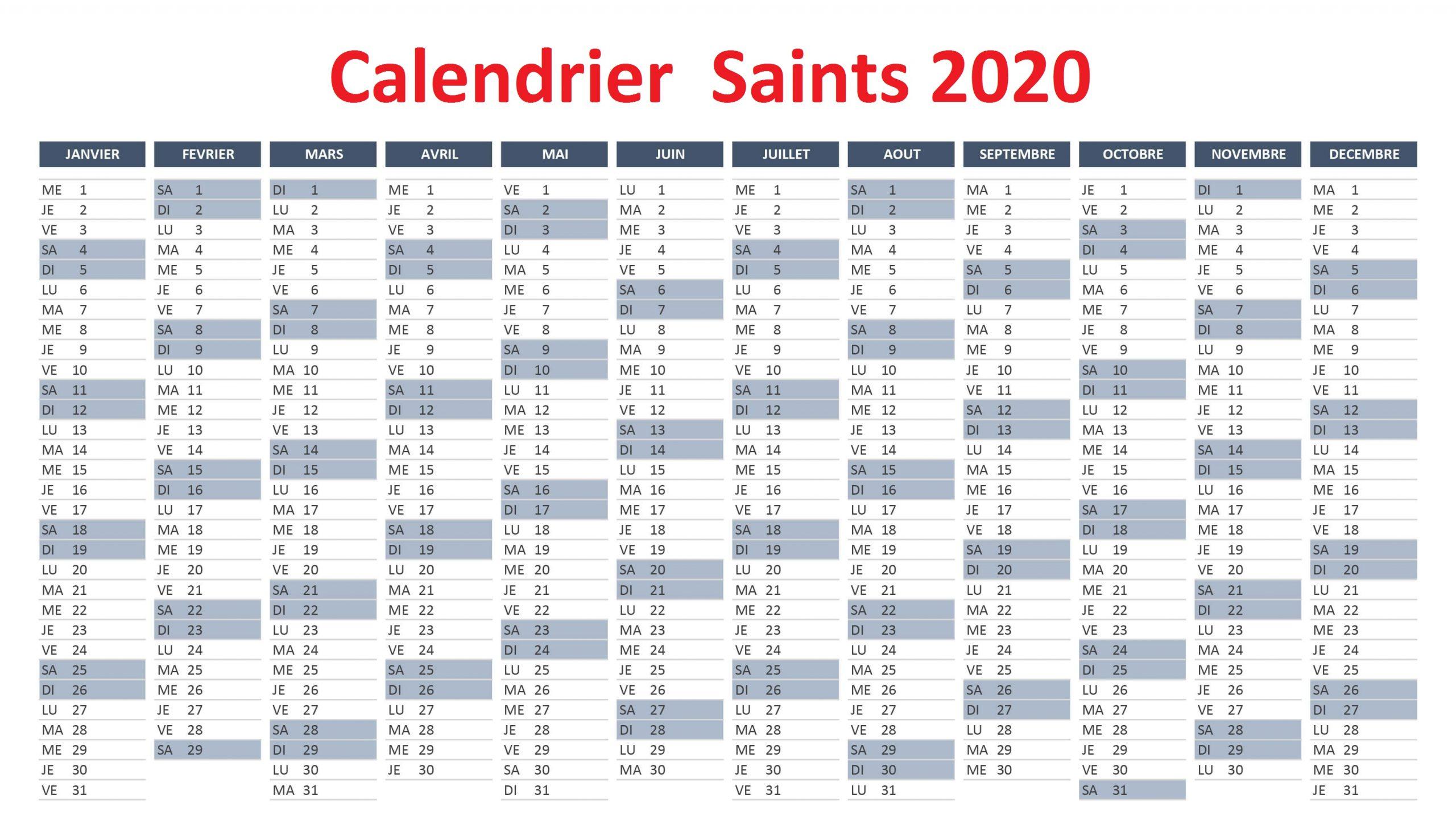 Calendrier Fetes Des Saints 2020