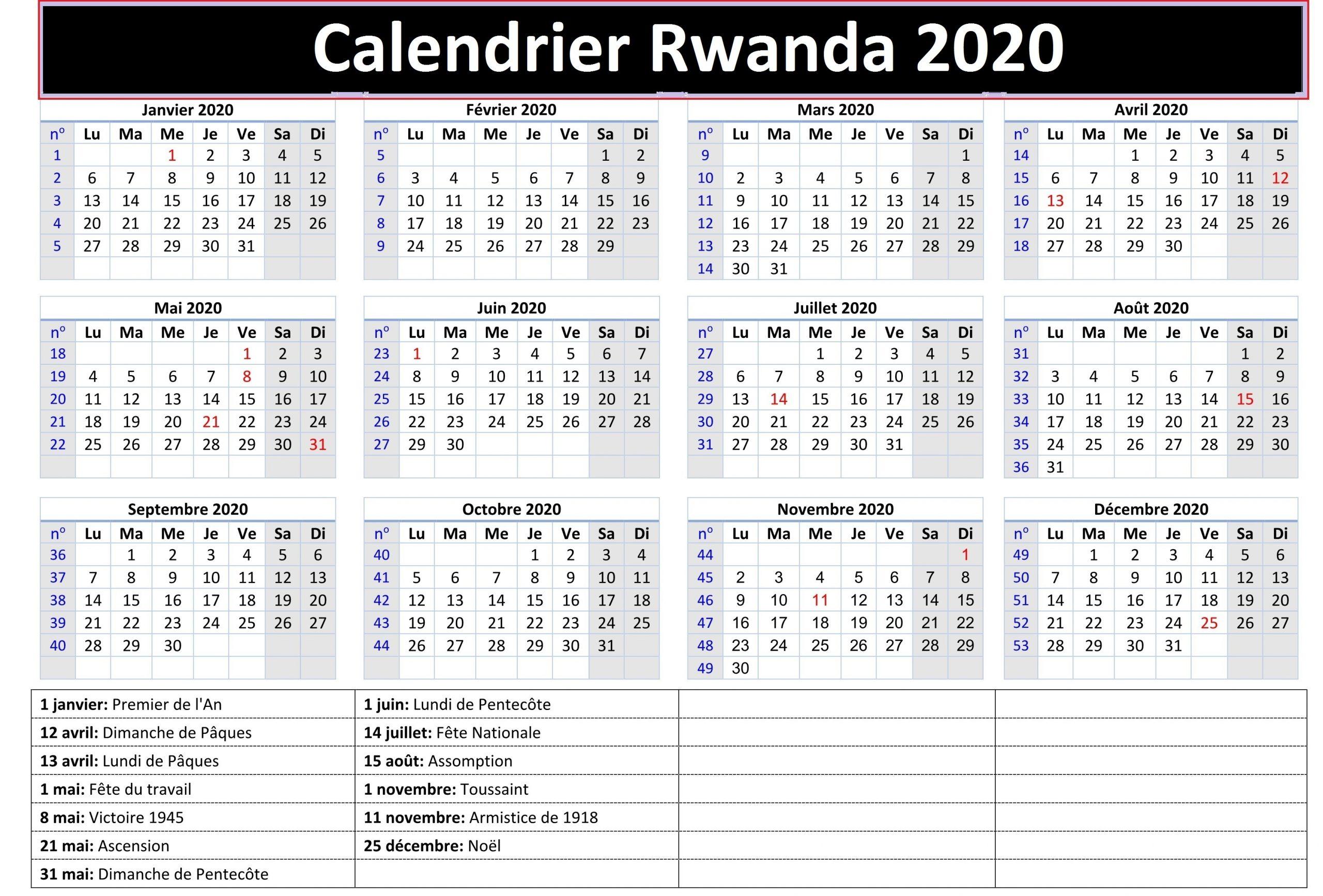 Rwanda Academic Calendar 2020