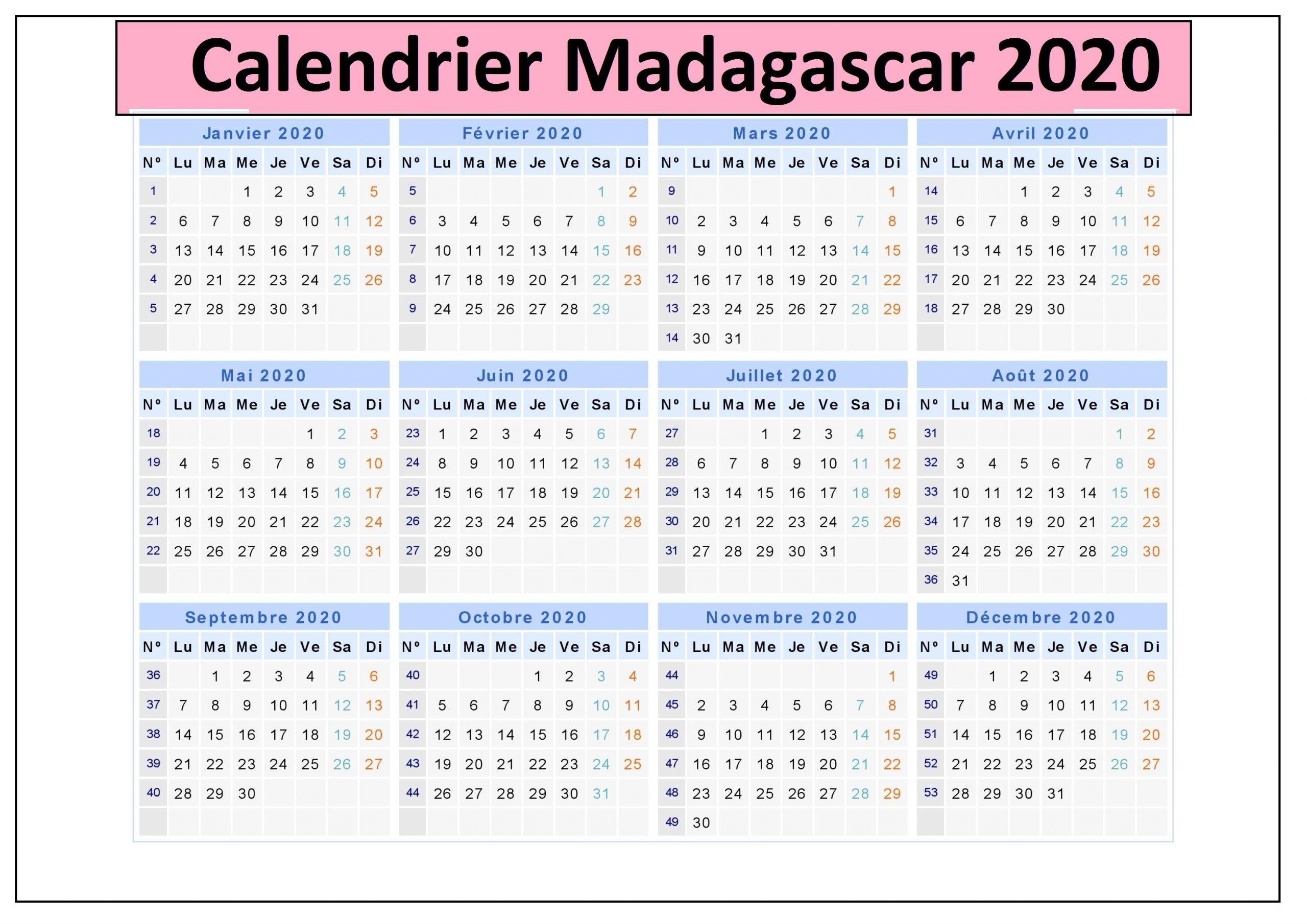 Calendrier Madagascar 2020 Jours fériés
