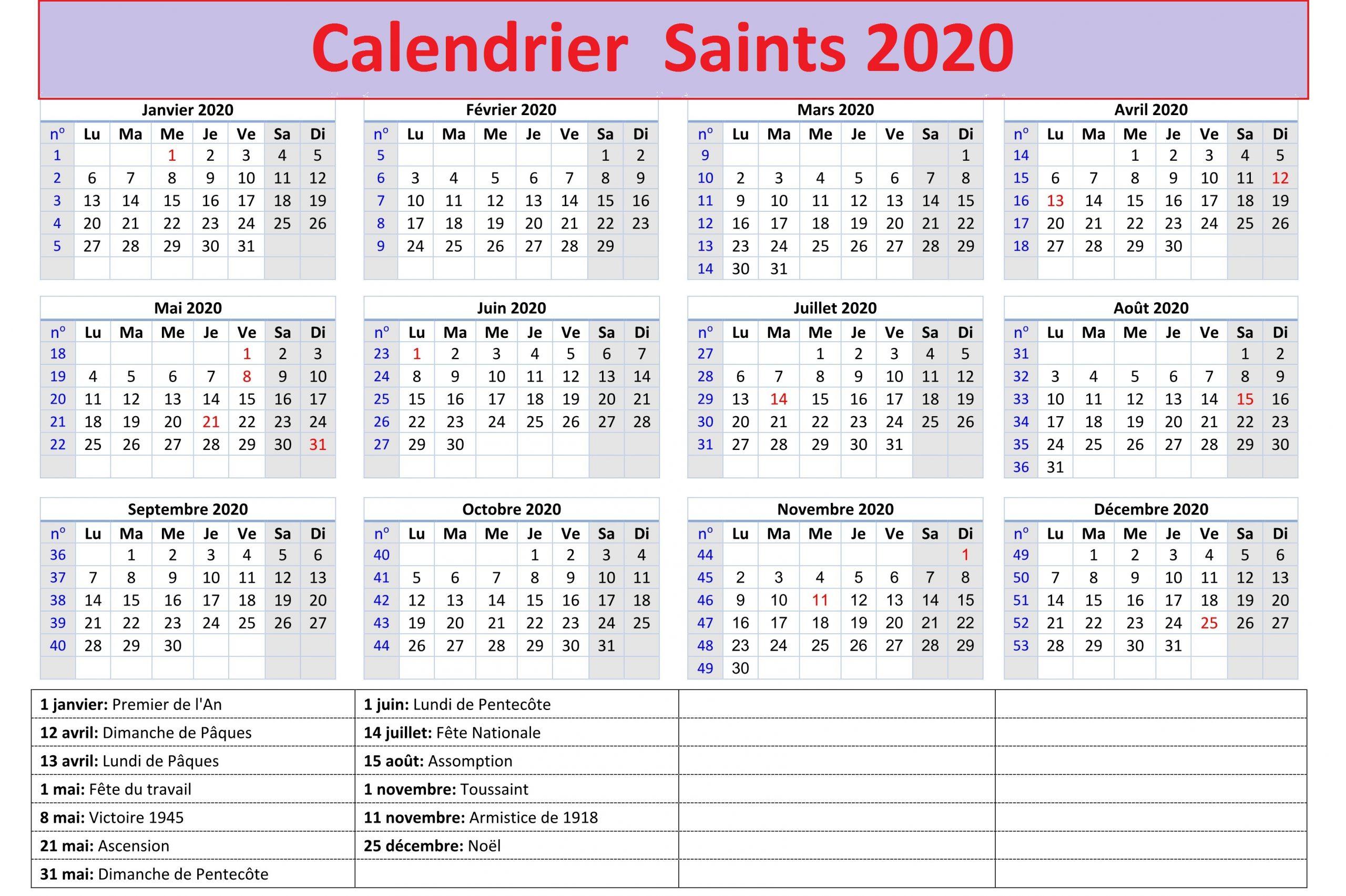 Le Calendrier Des Saints 2020