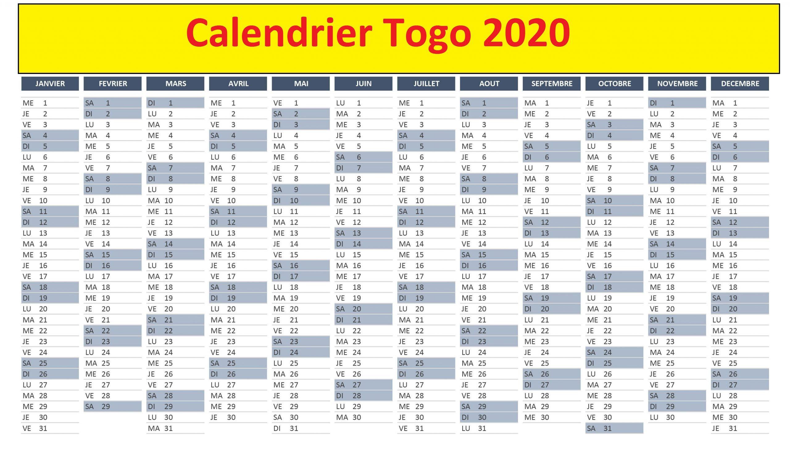 Calendrier Fiscal 2020 Togo