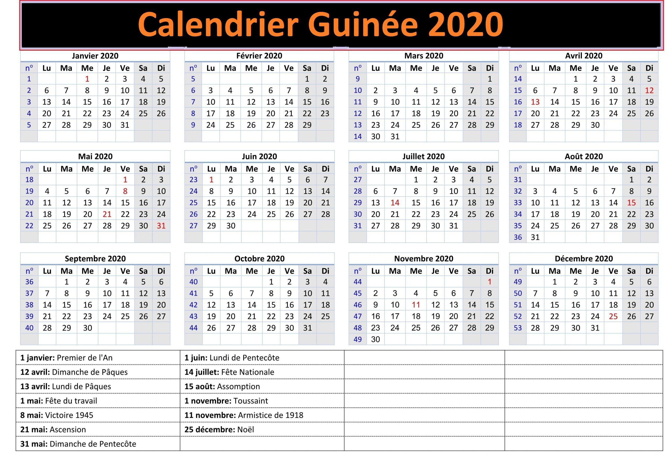 Calendrier Ramadan Guinée 2020