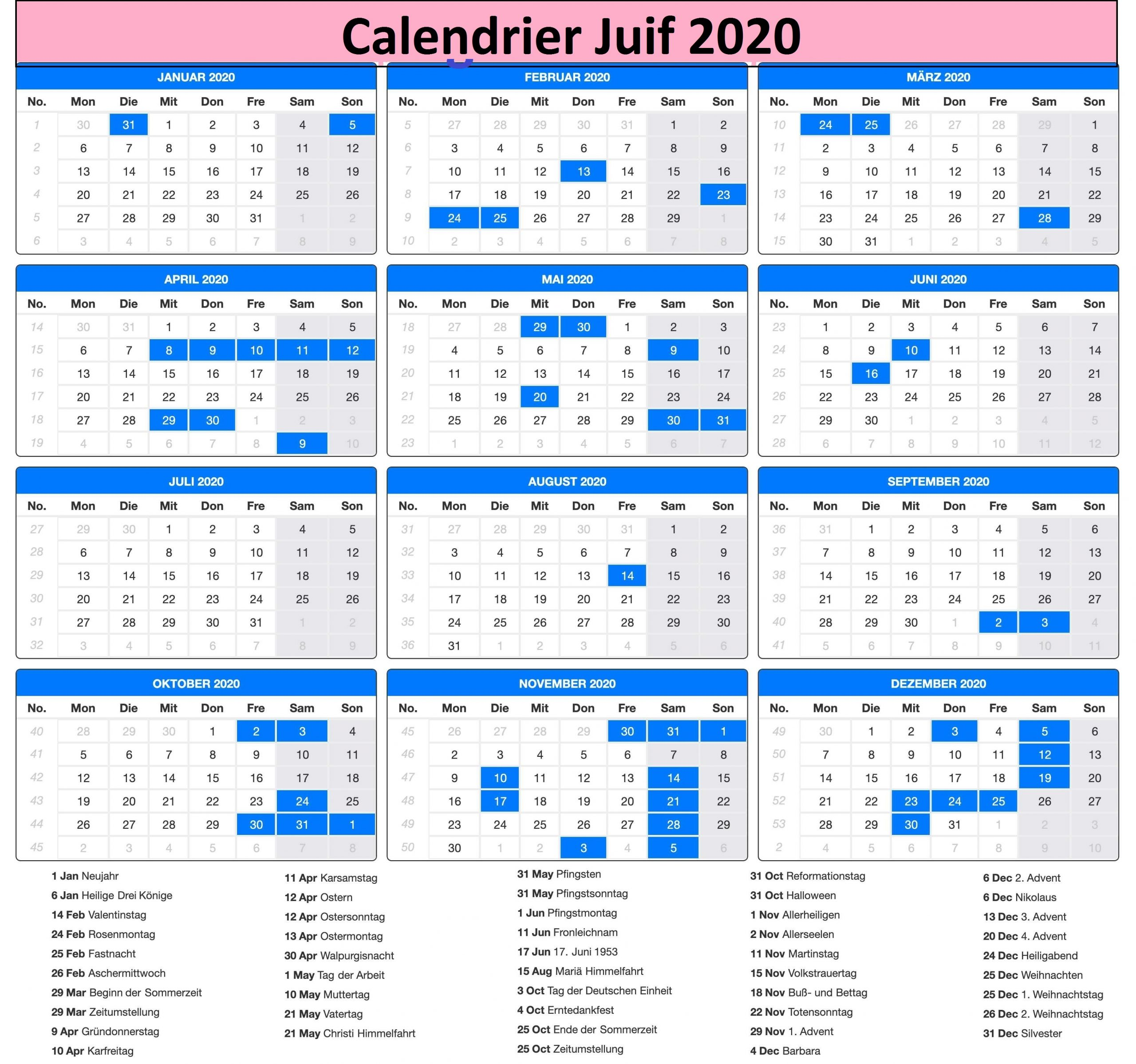 calendrier juif Messianique 2020