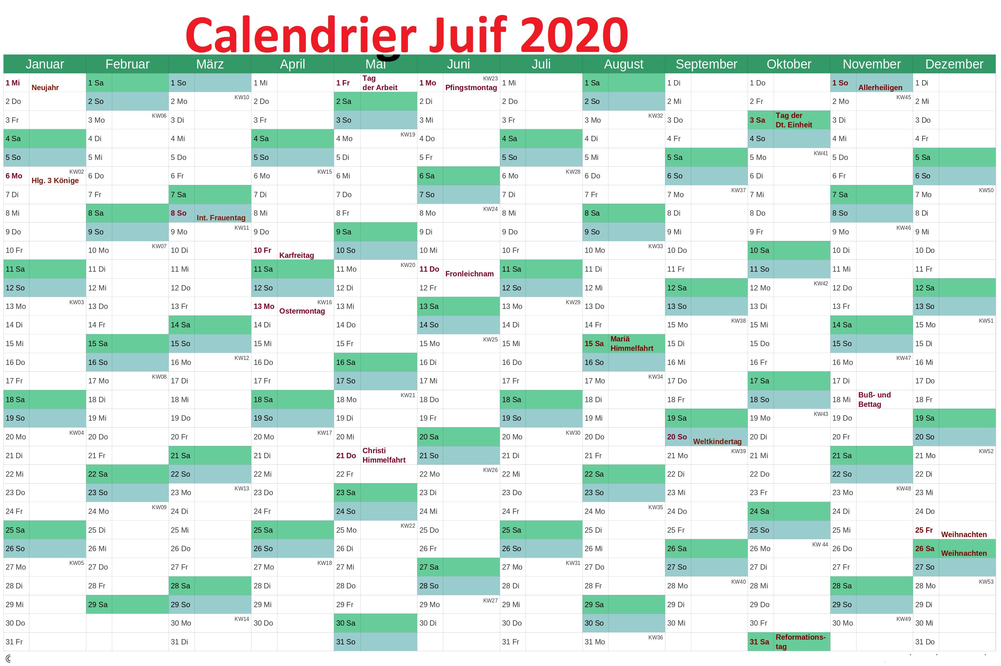 calendrier juif 2020