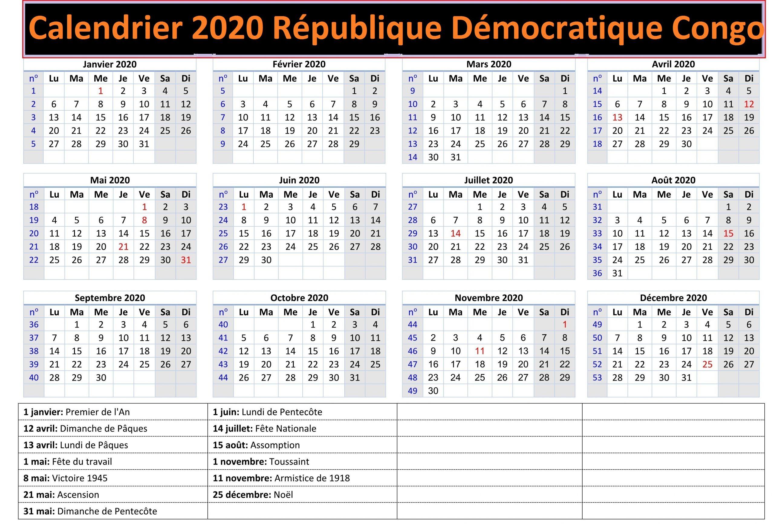 Calendrier Scolaire 2020 Rdc