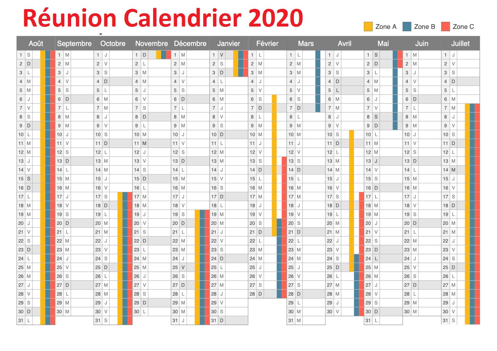 Calendrier 2020 Réunion 974