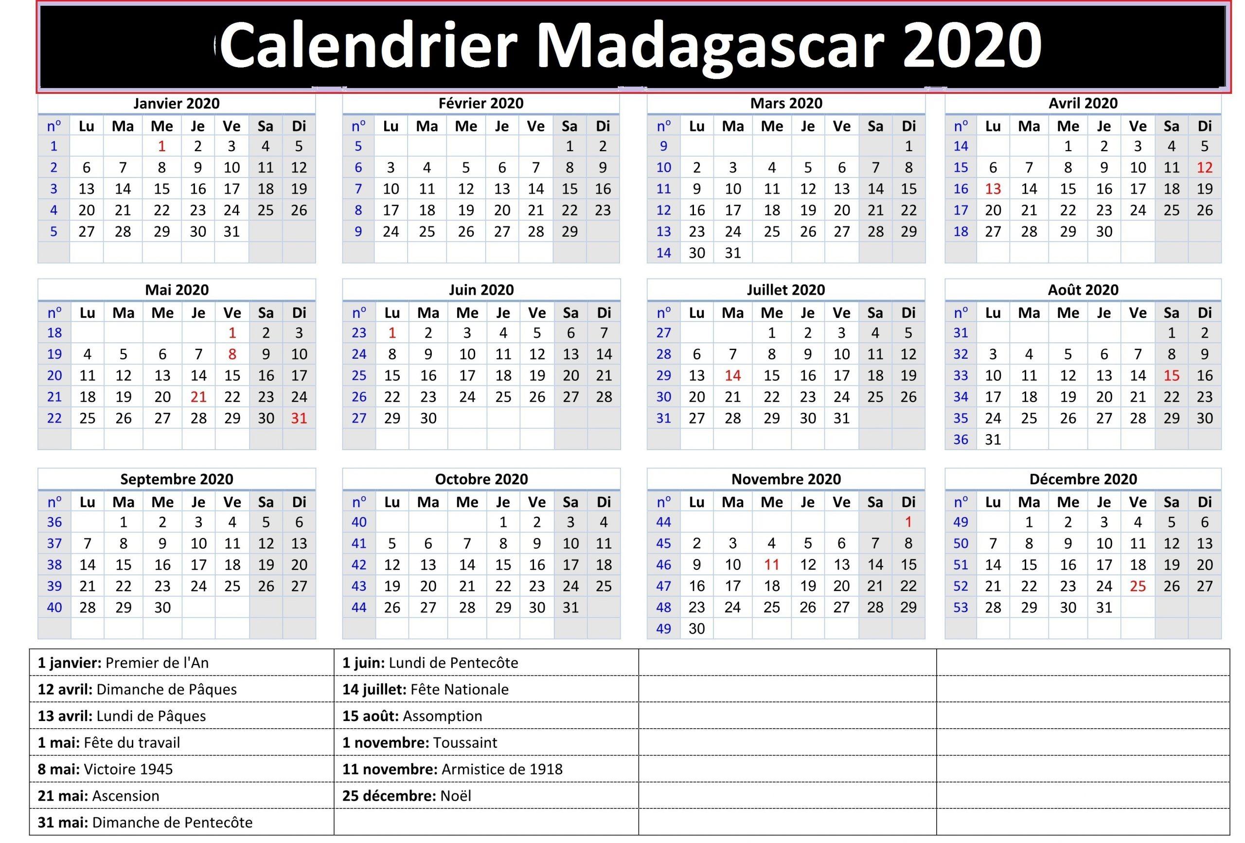 Calendrier Examen Officiel Madagascar 2020