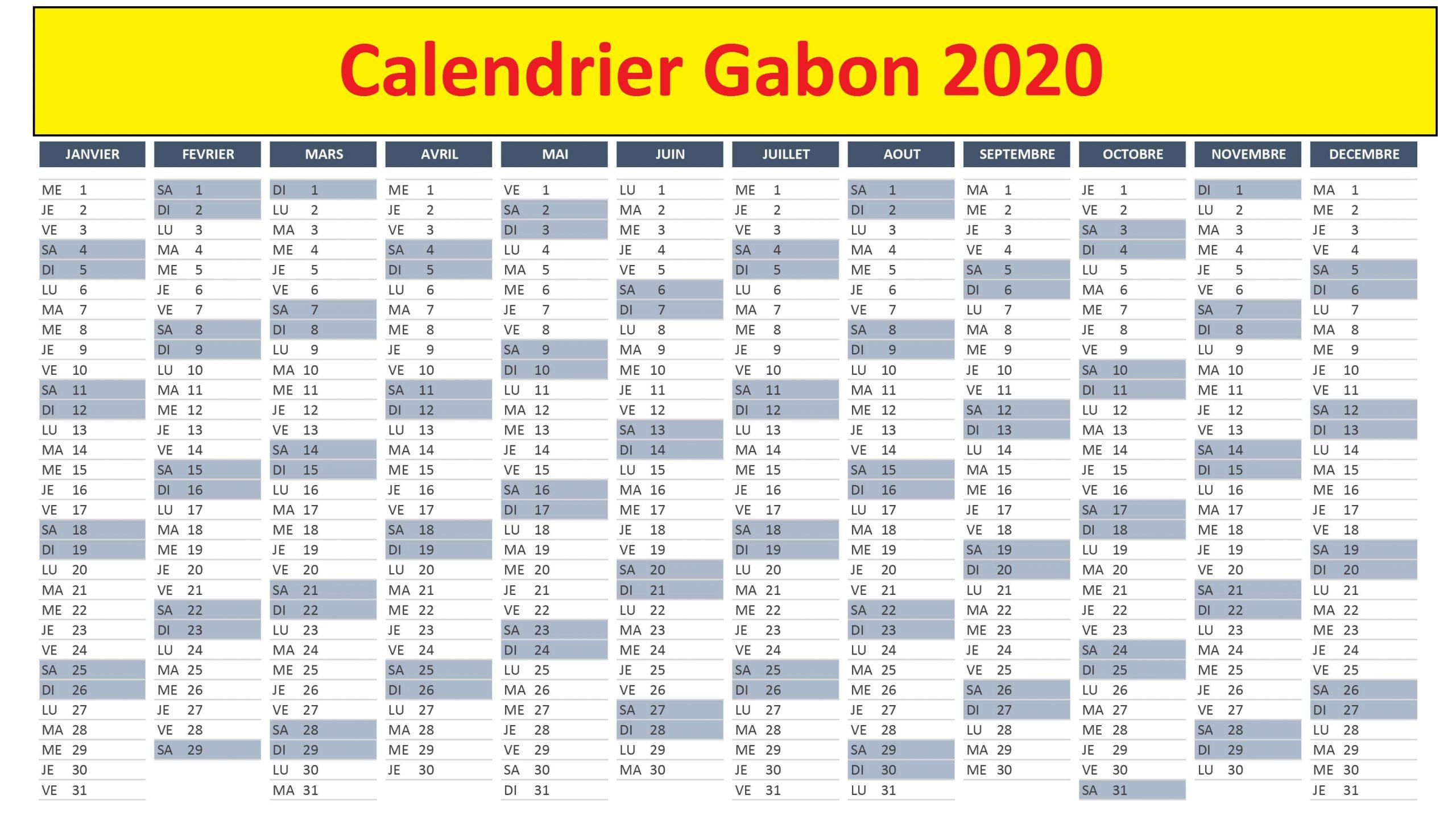 Calendrier Pedagogique Gabon 2020
