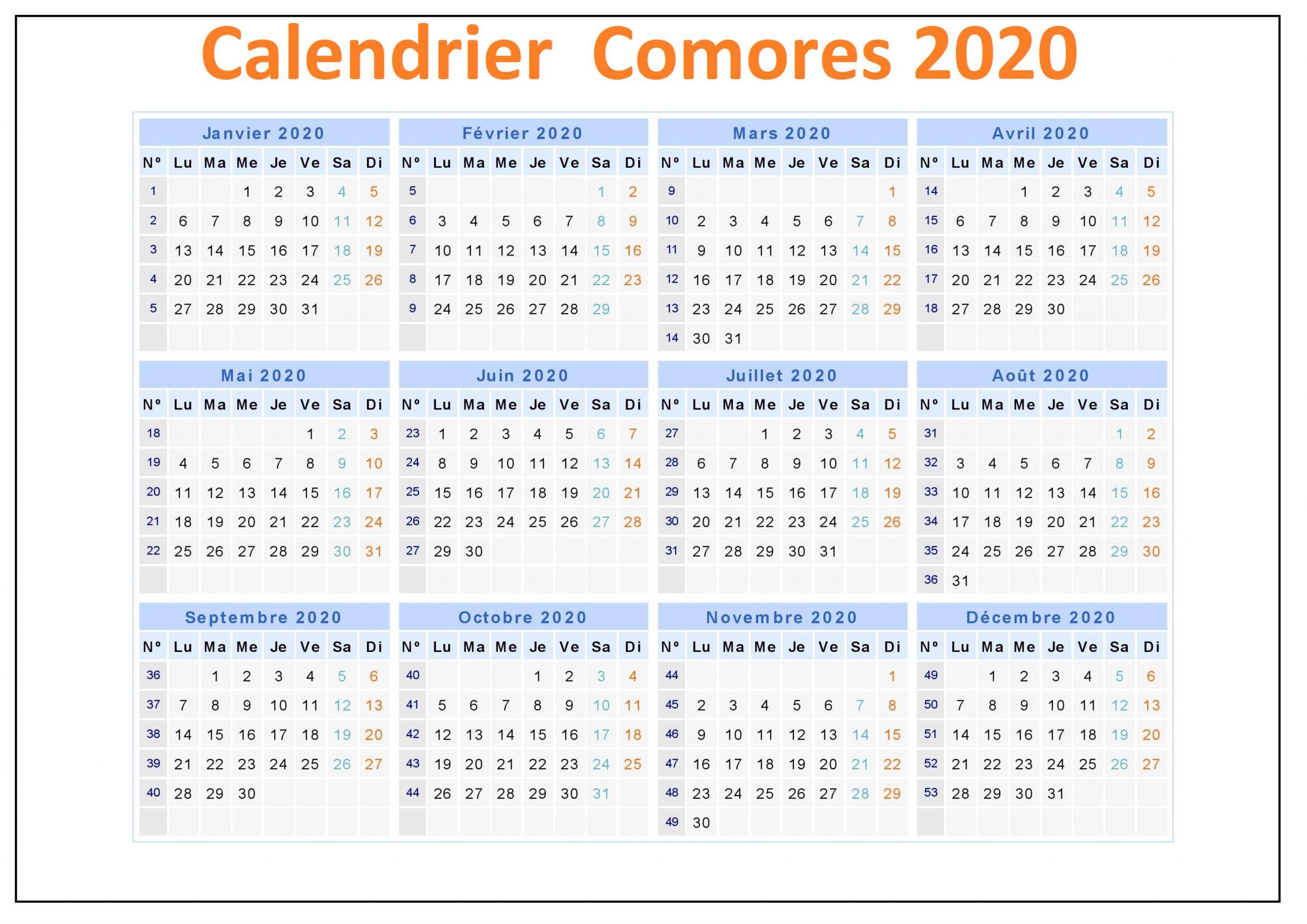 Calendrier Ramadan Comores 2020