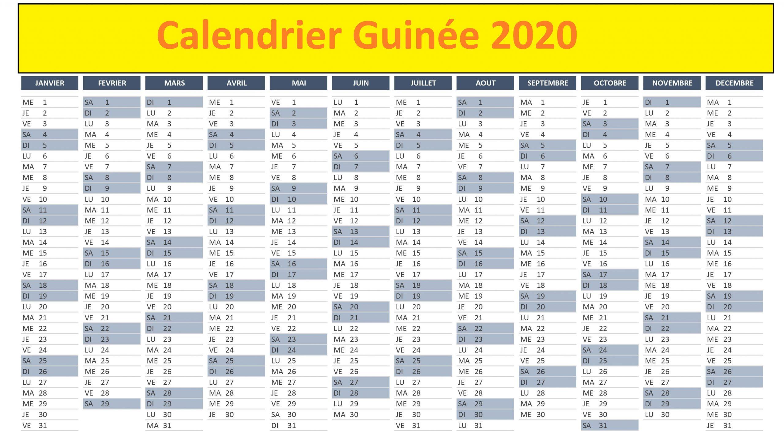 Calendrier Campus France Guinée 2020
