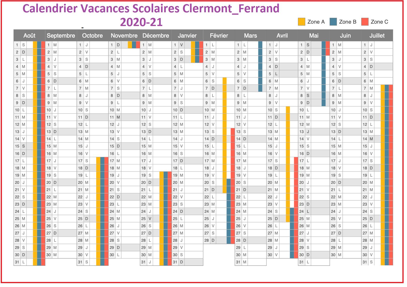 CalendrierScolaire2020-2021 en ClermontFerrand