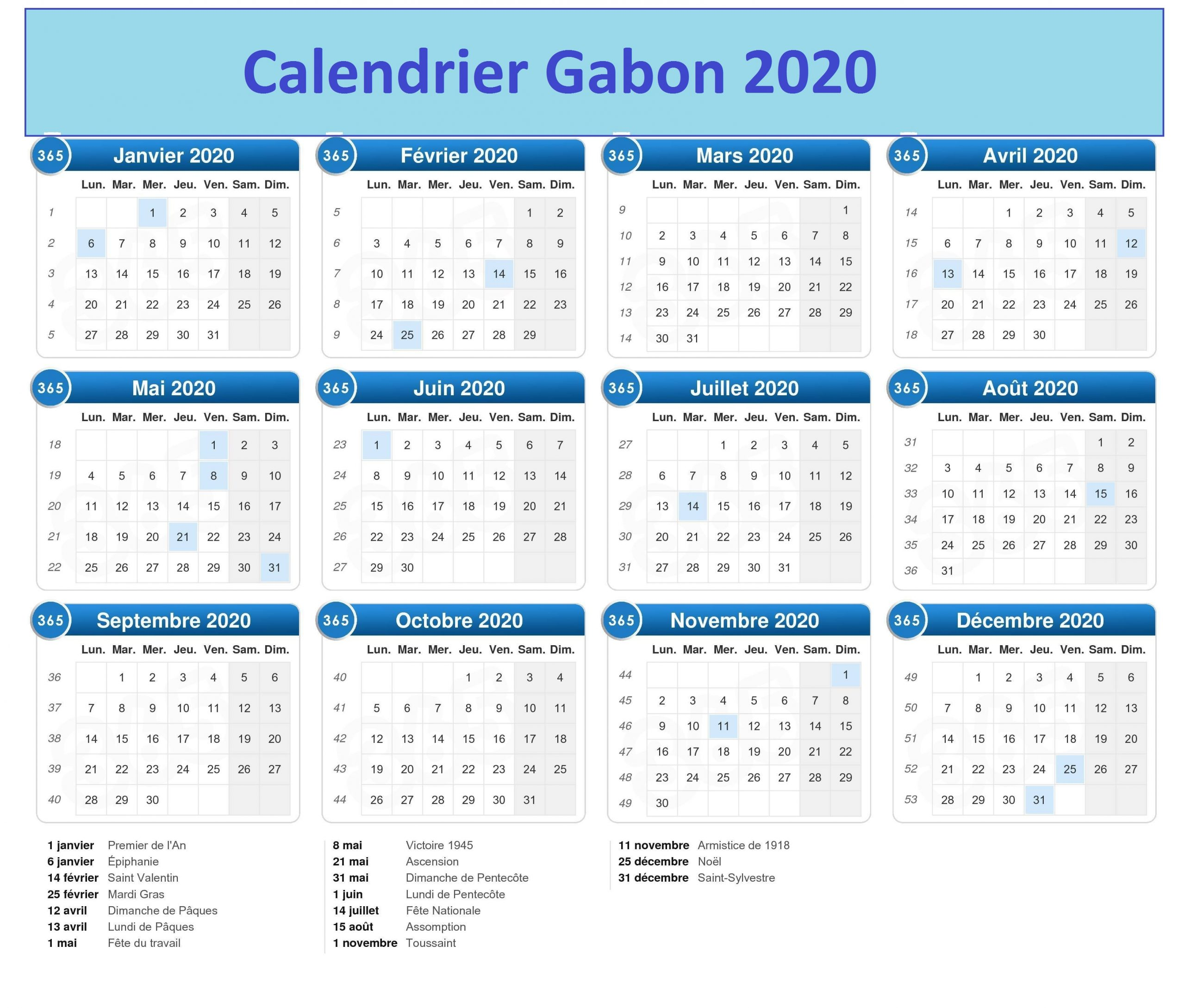 Calendrier Campus France Gabon 2020