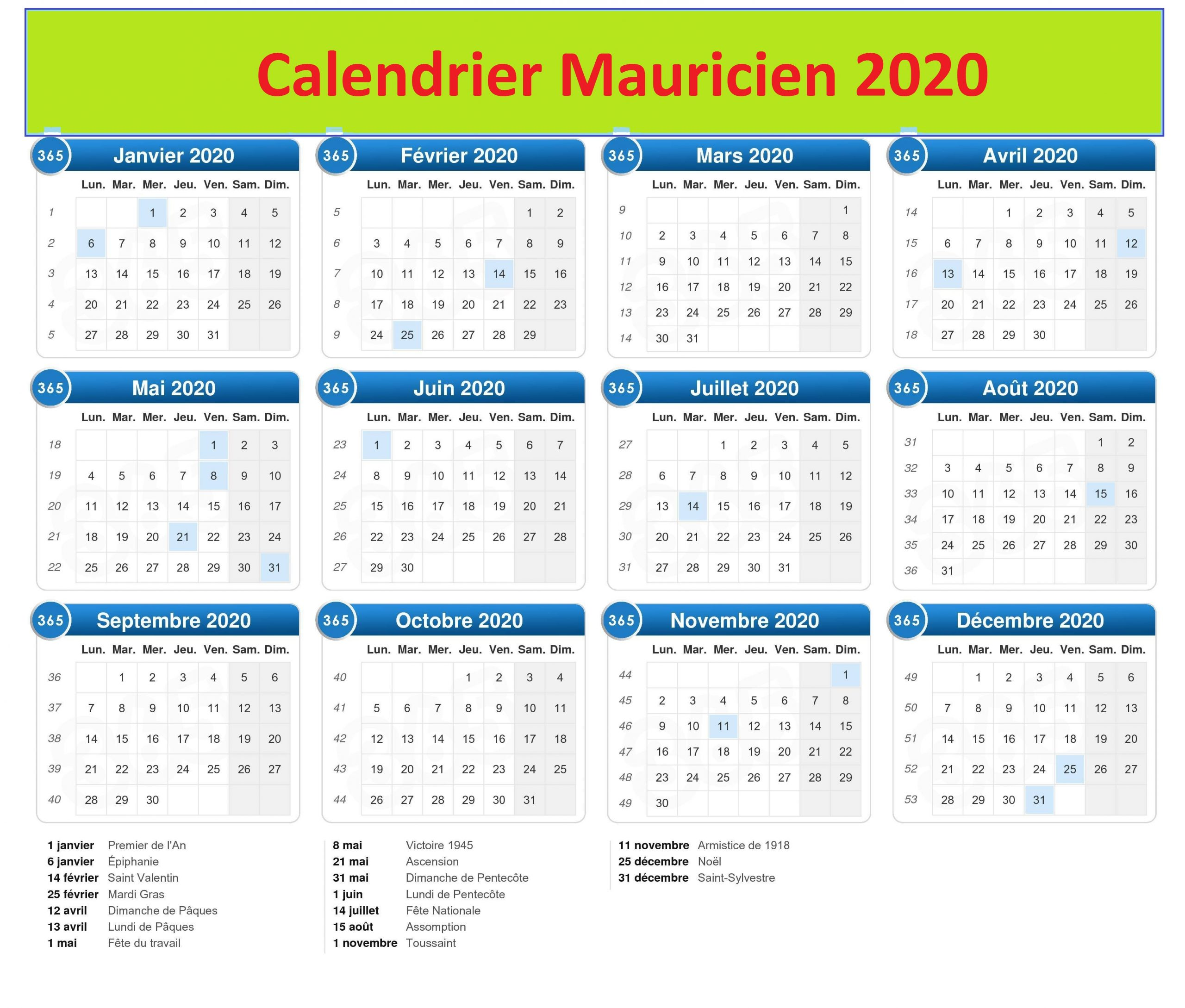 Calendrier 2020 Scolaire Val- Maurice