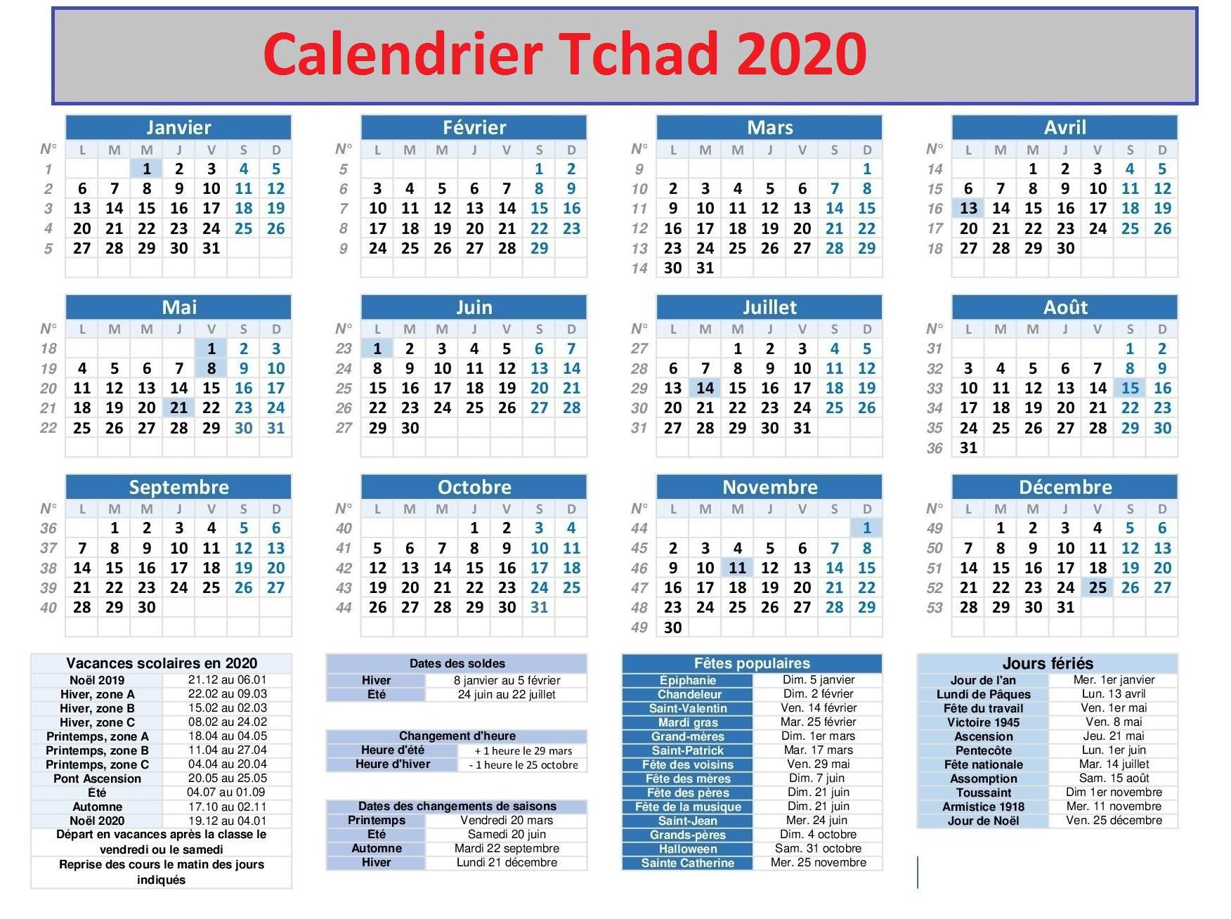 Calendrier Bac Tchad 2020