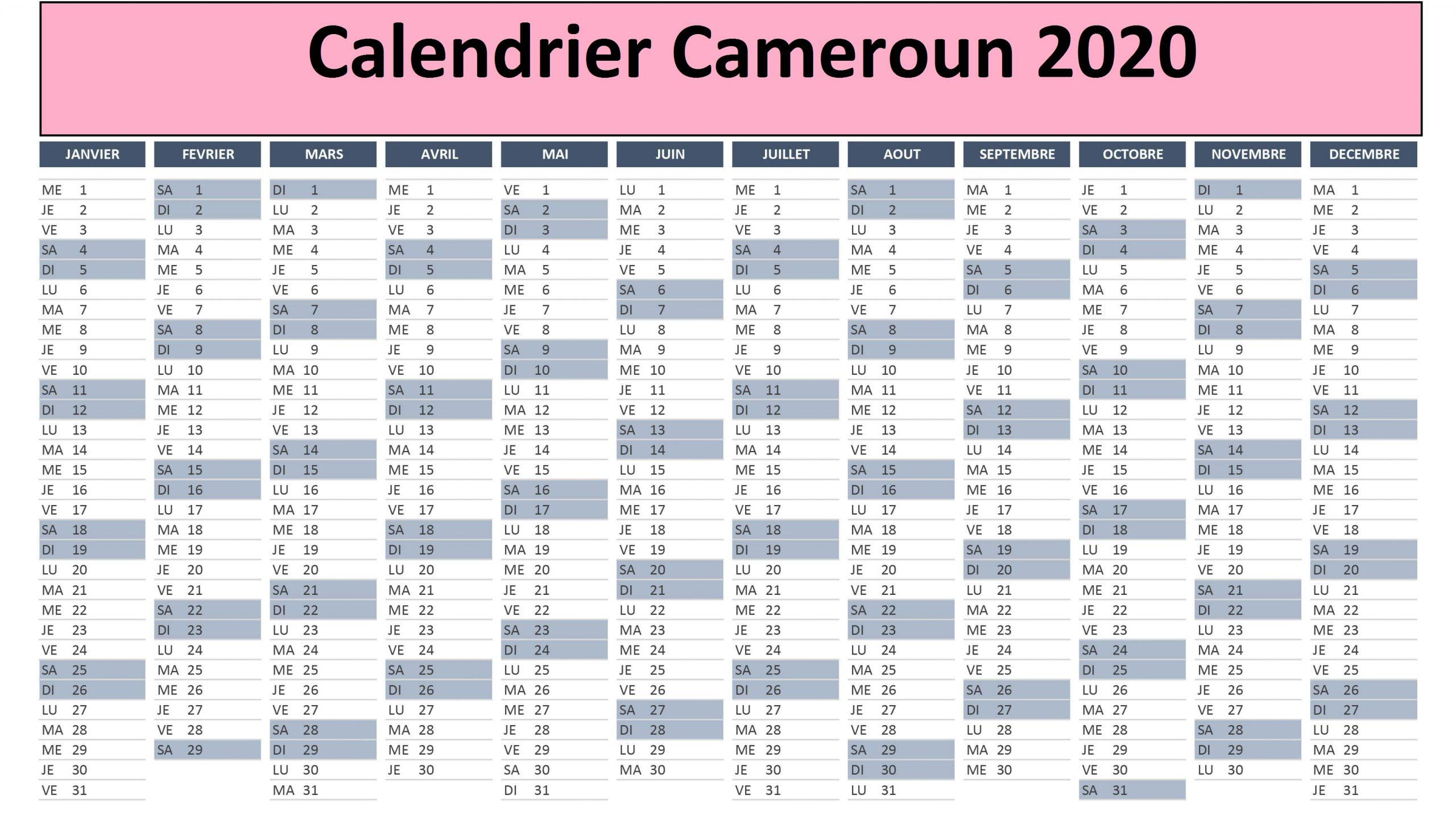 Calendrier Chan Cameroun 2020