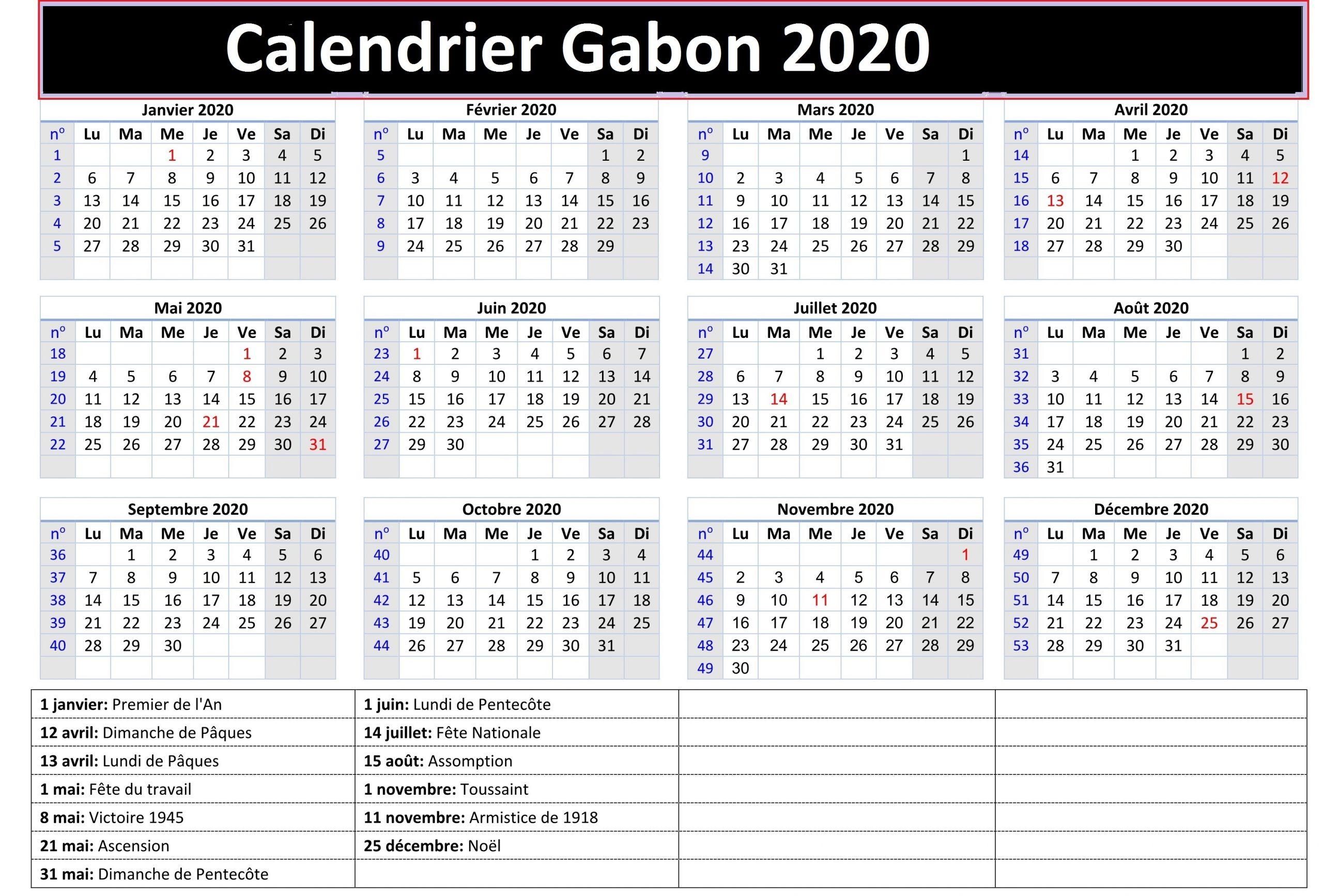 Calendrier Scolaire 2020 Gabon pdf
