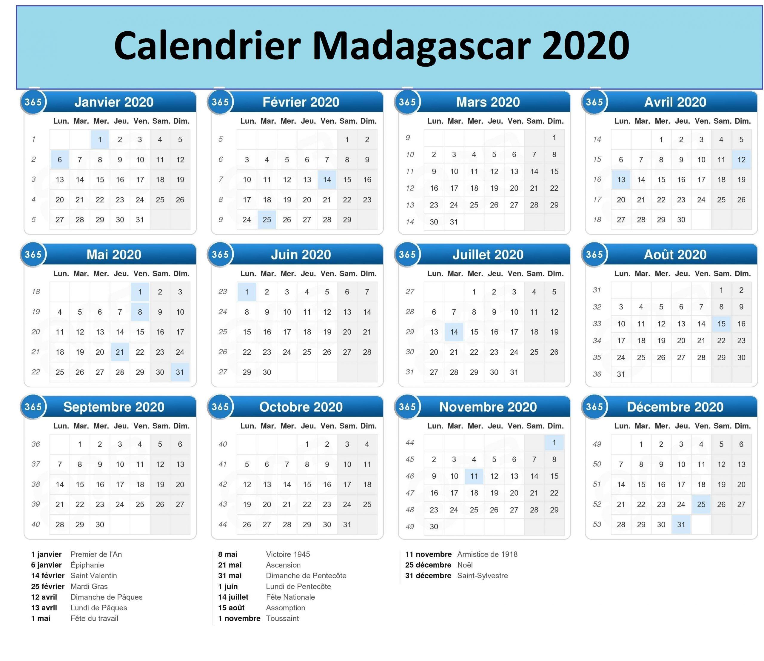 Calendrier 2020 Madagascar Pdf