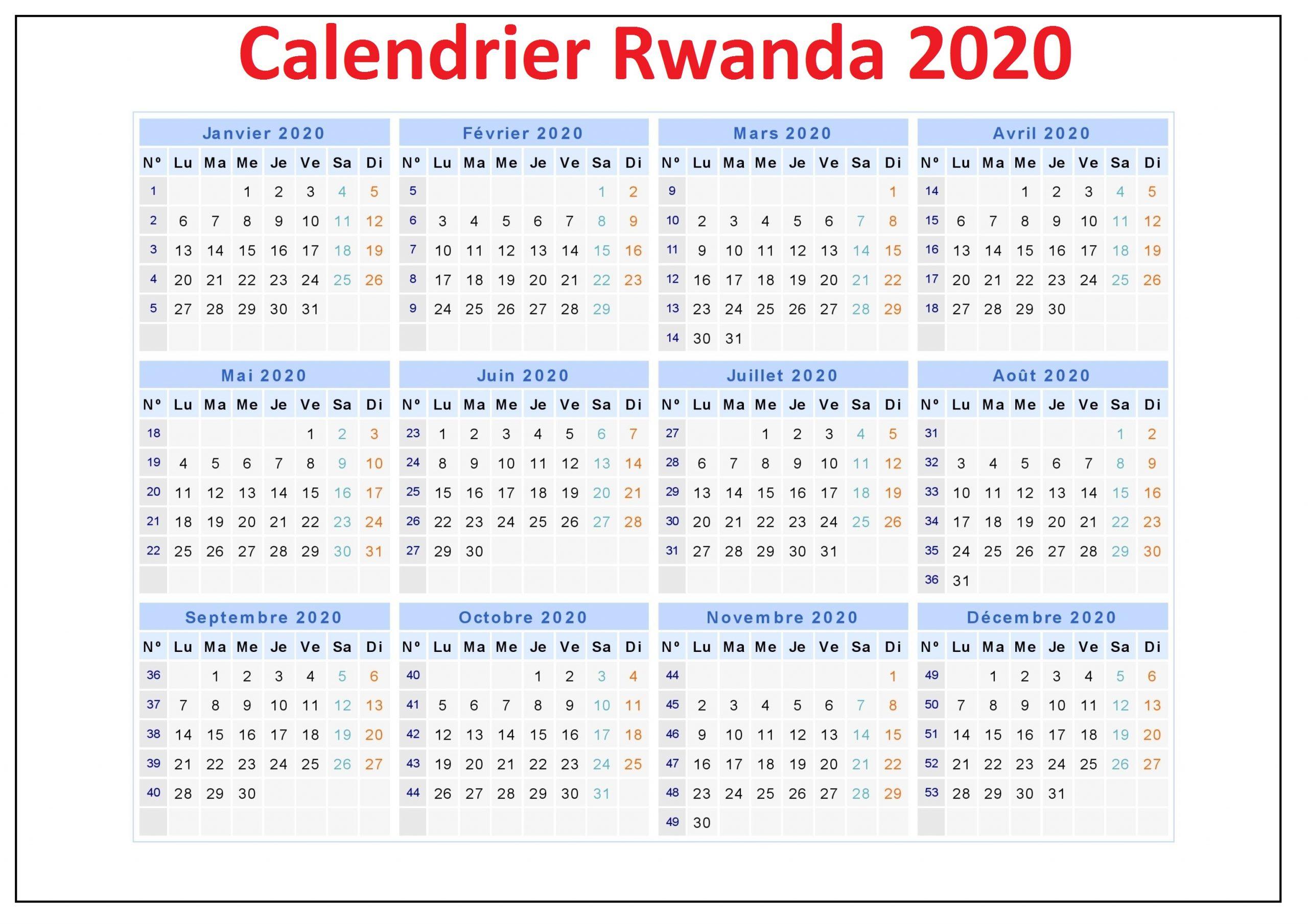 Calendrier Des Vacances Rwanda 2020