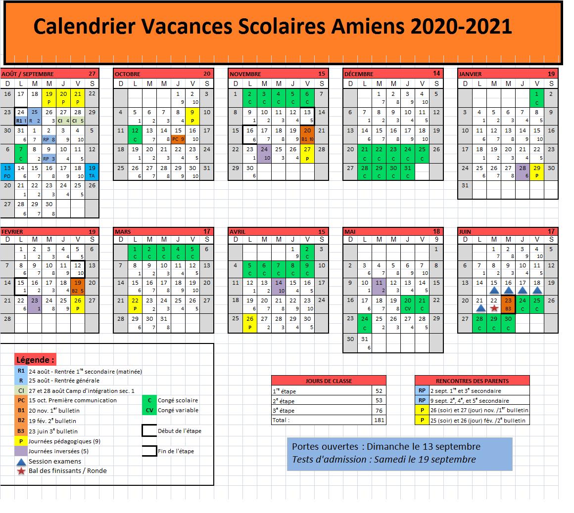 Dates Calendrier Vacances Scolaires Amiens 2020
