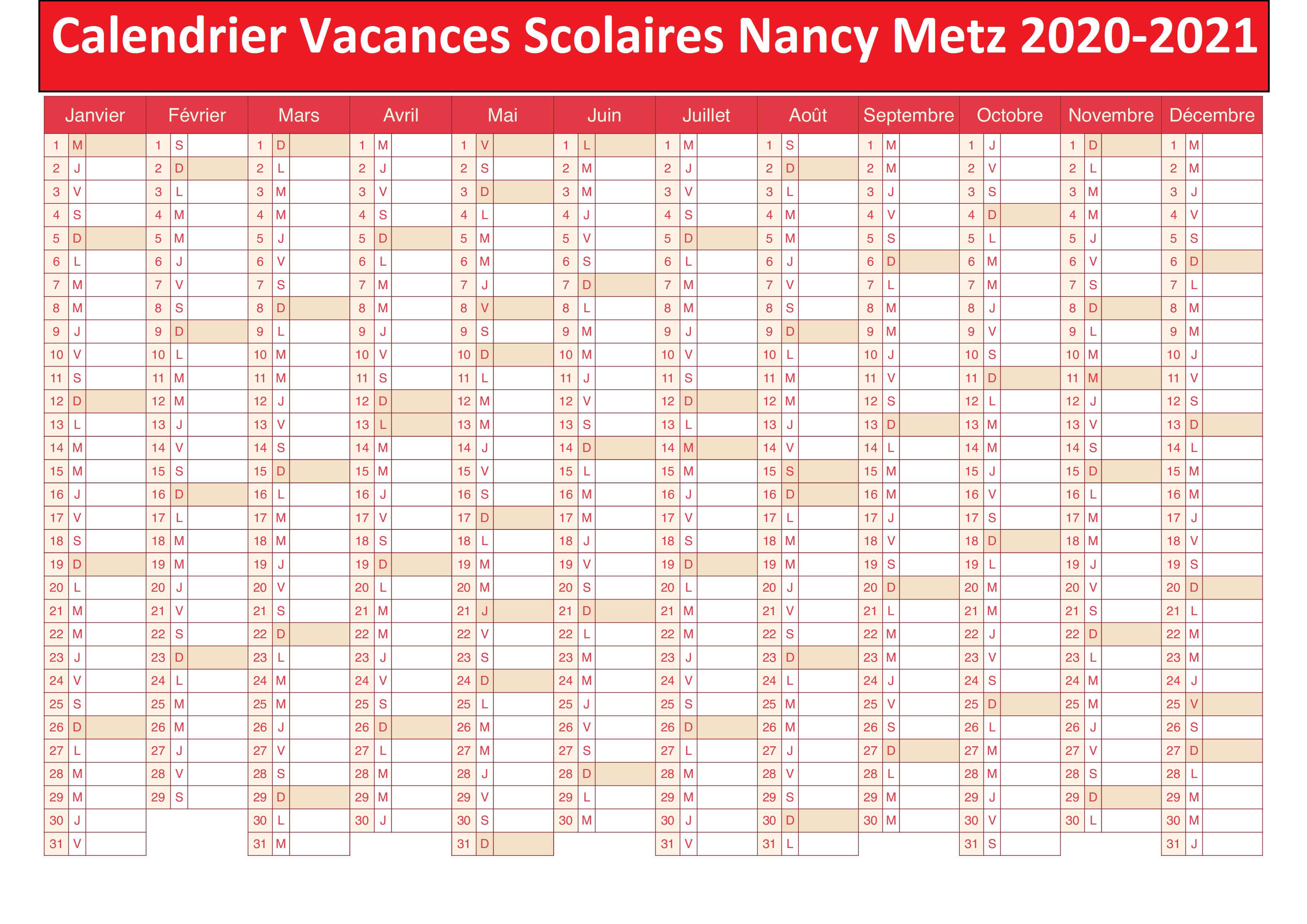 Calendrier Vacances Scolaires 2020 Academie De Nancy Metz