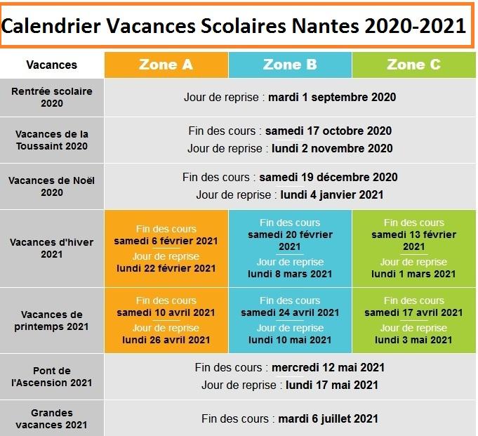 Calendrier Vacances Scolaires 2020 Academie De Nantes
