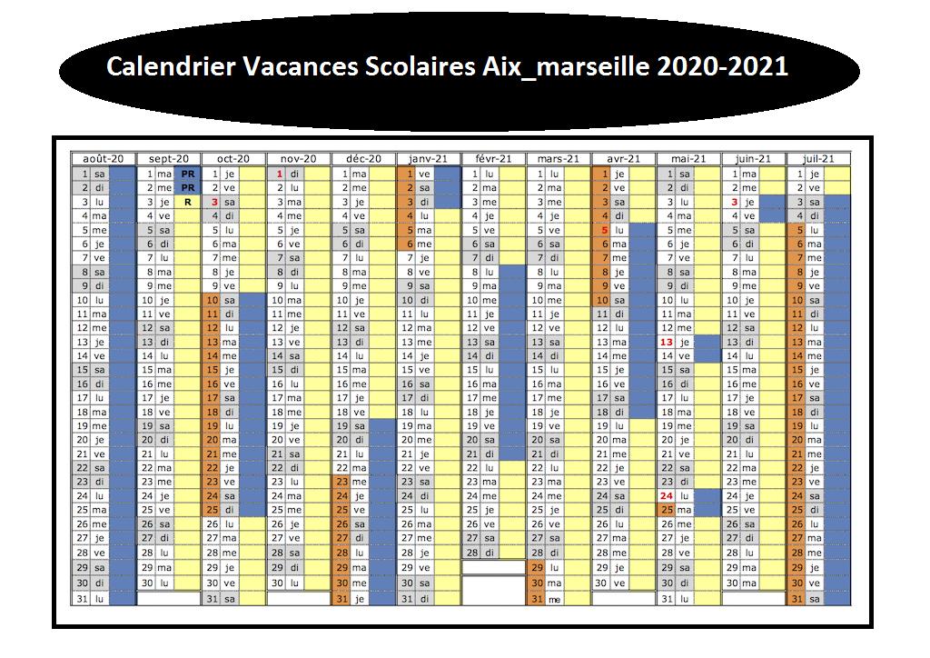 Calendrier Vacances Scolaires 2020 Zone Aix Marseille