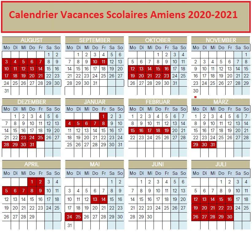 Calendrier Vacances Scolaires 2020 Zone Amiens